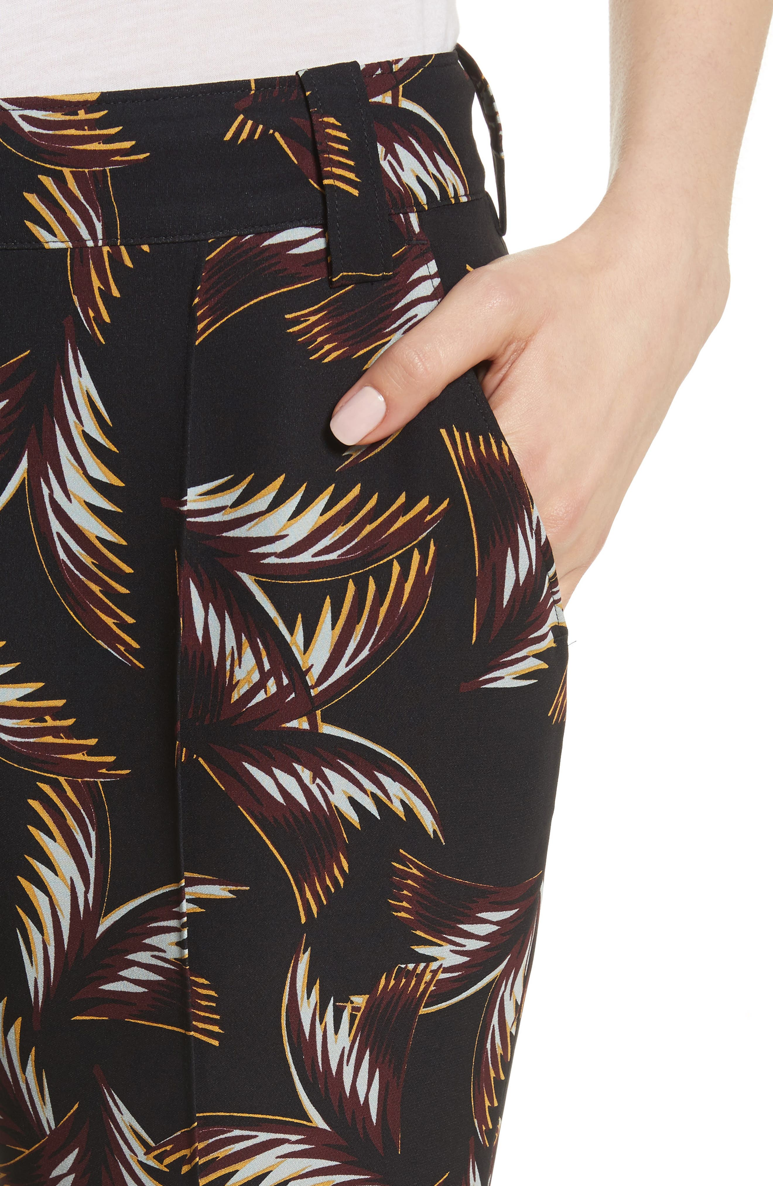 Felix Print Silk Crop Flare Pants,                             Alternate thumbnail 5, color,                             Black