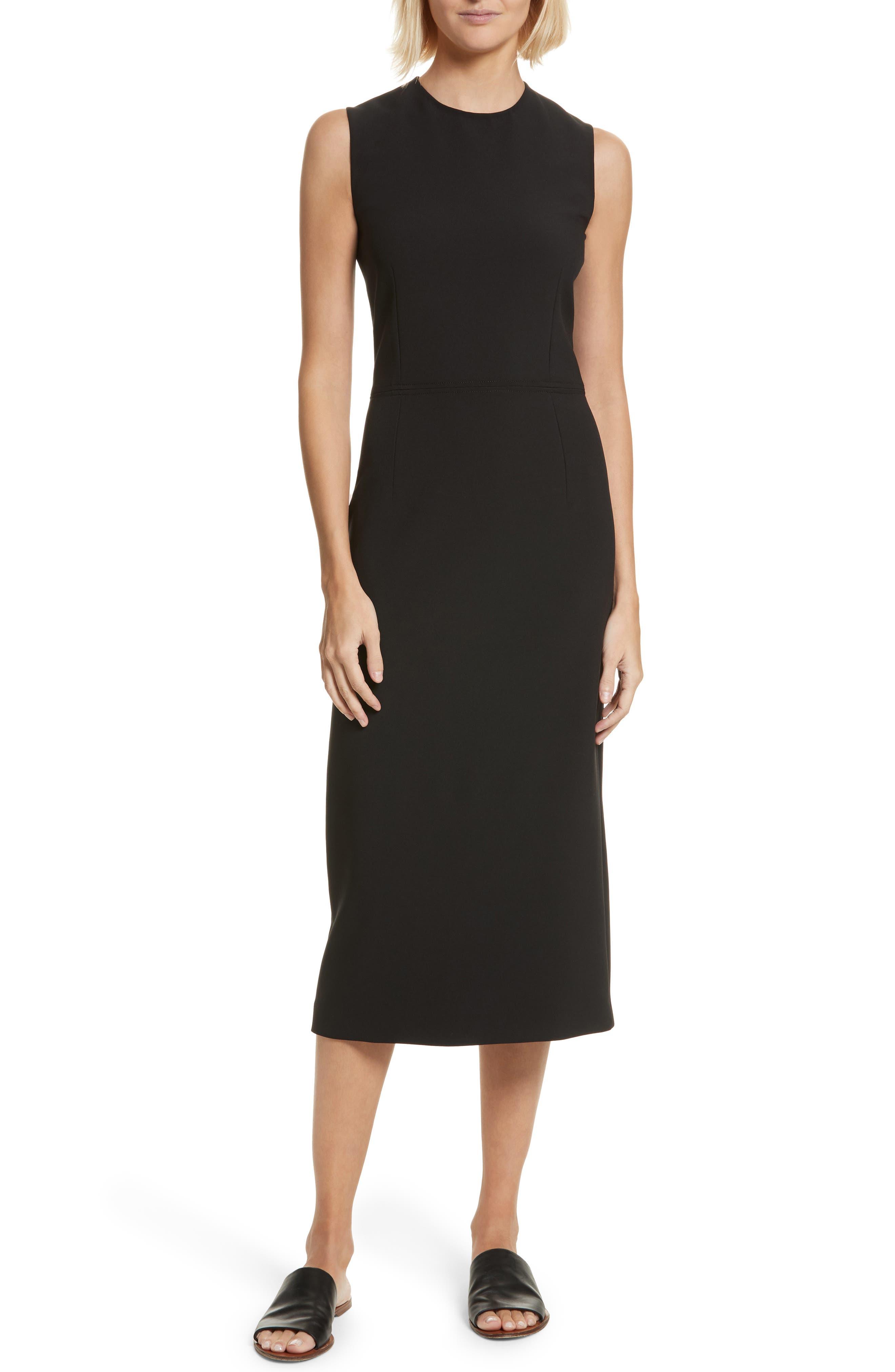 Sabine Stretch Cady Sheath Dress,                             Main thumbnail 1, color,                             Black