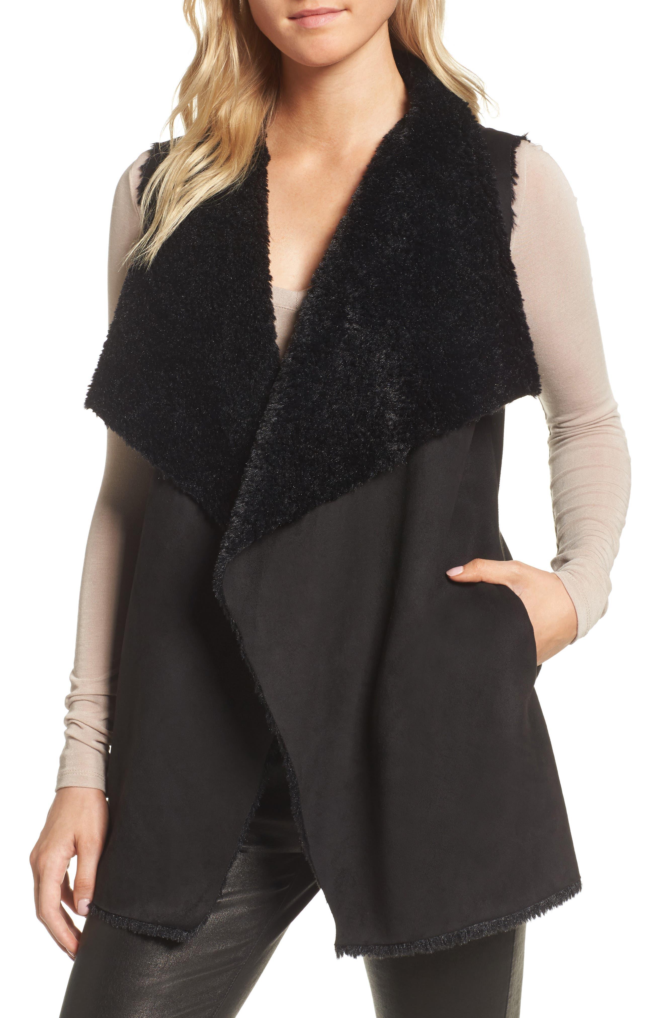 Avalonia Faux Shearling Vest,                             Main thumbnail 1, color,                             Black
