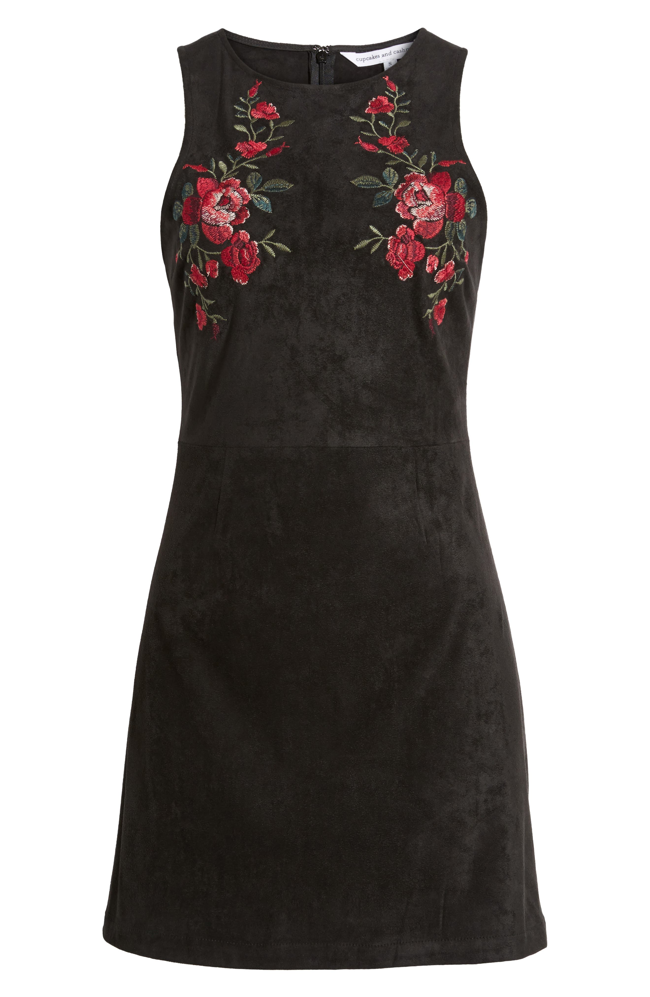 Valet Embroidered Minidress,                             Alternate thumbnail 6, color,                             Black