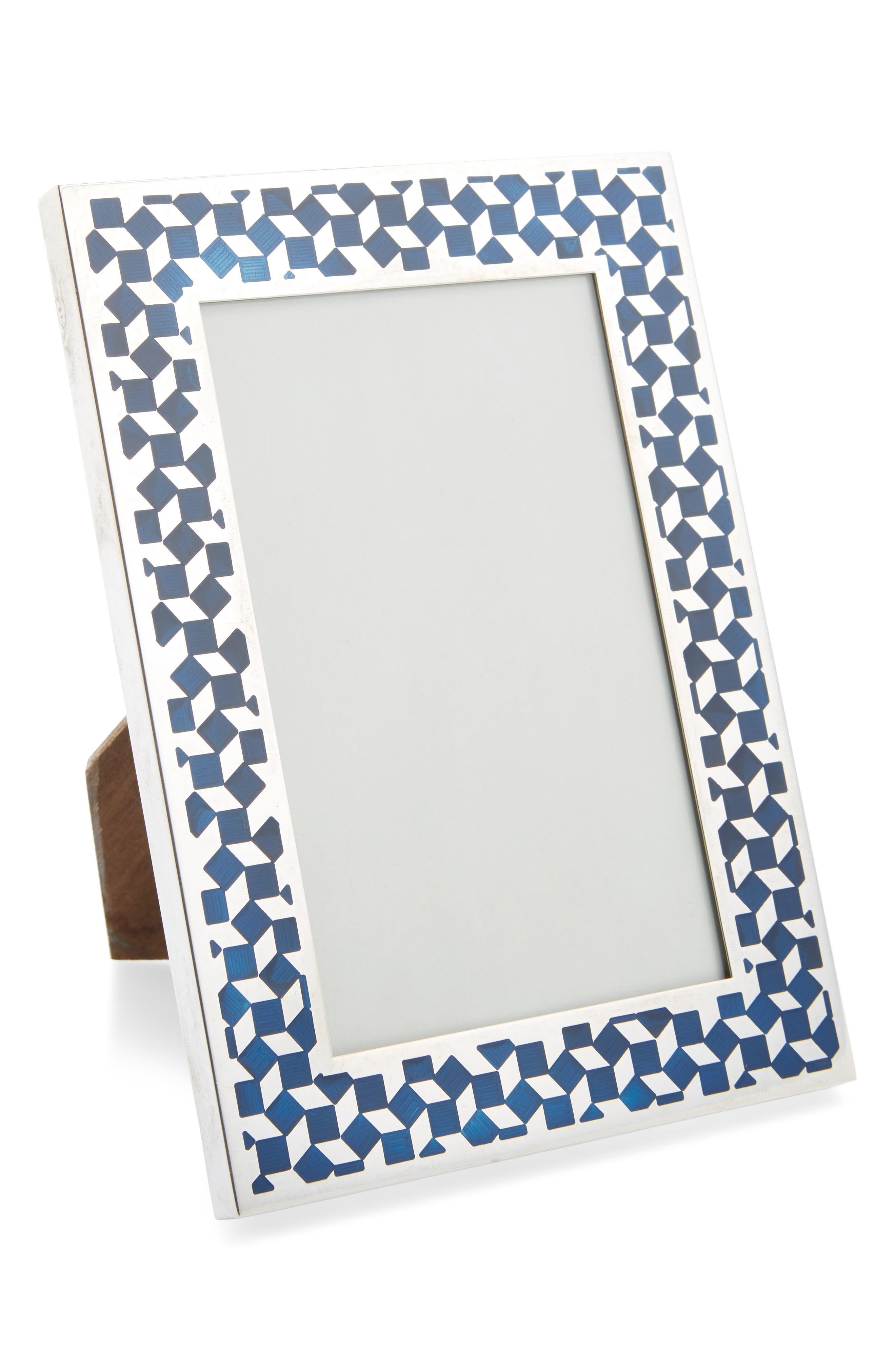 One of a Kind Vintage Sterling Silver & Enamel Geo Pattern Frame,                             Main thumbnail 1, color,                             Silver