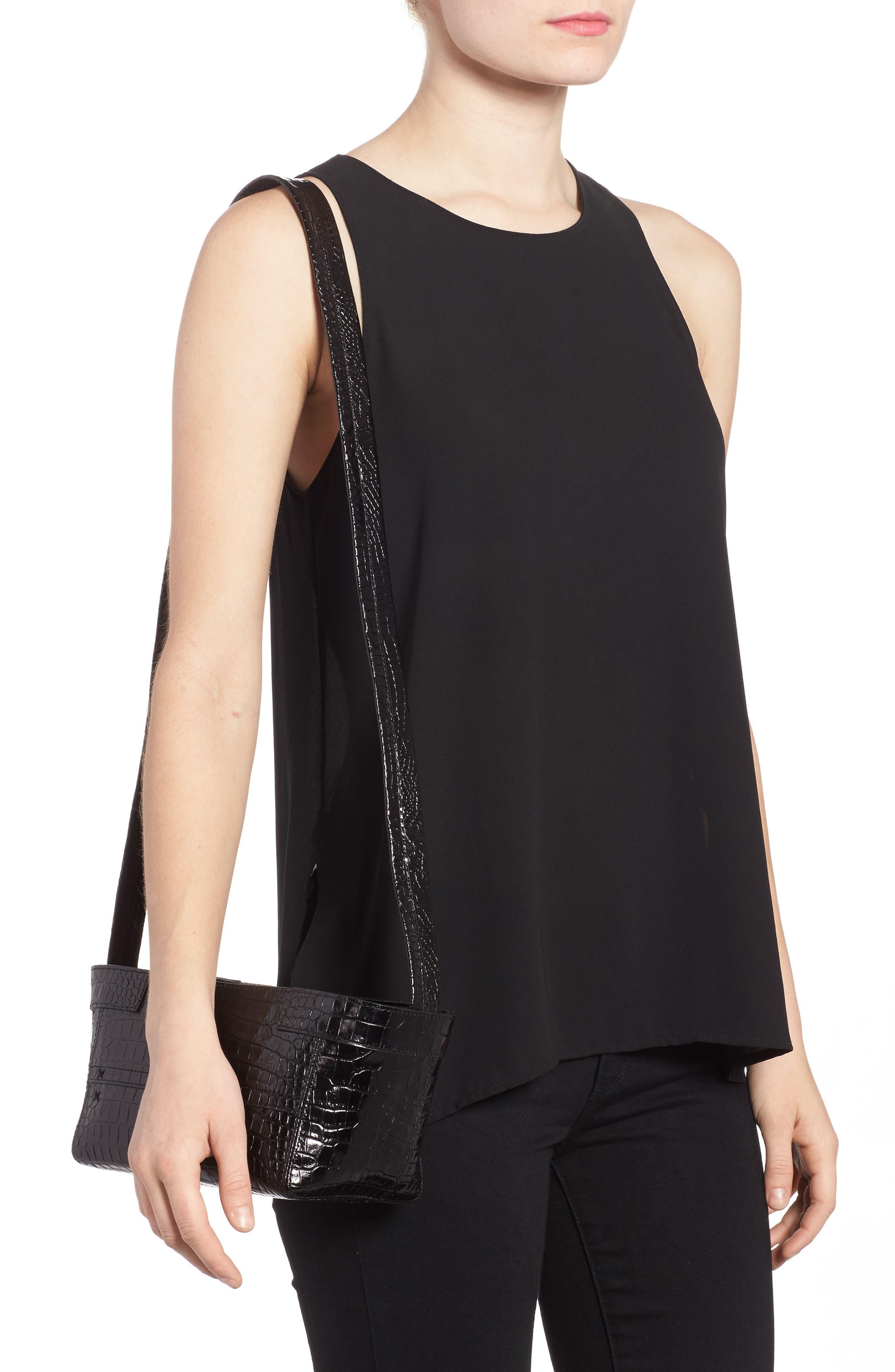 Keely Leather Crossbody Bag,                             Alternate thumbnail 2, color,                             Black