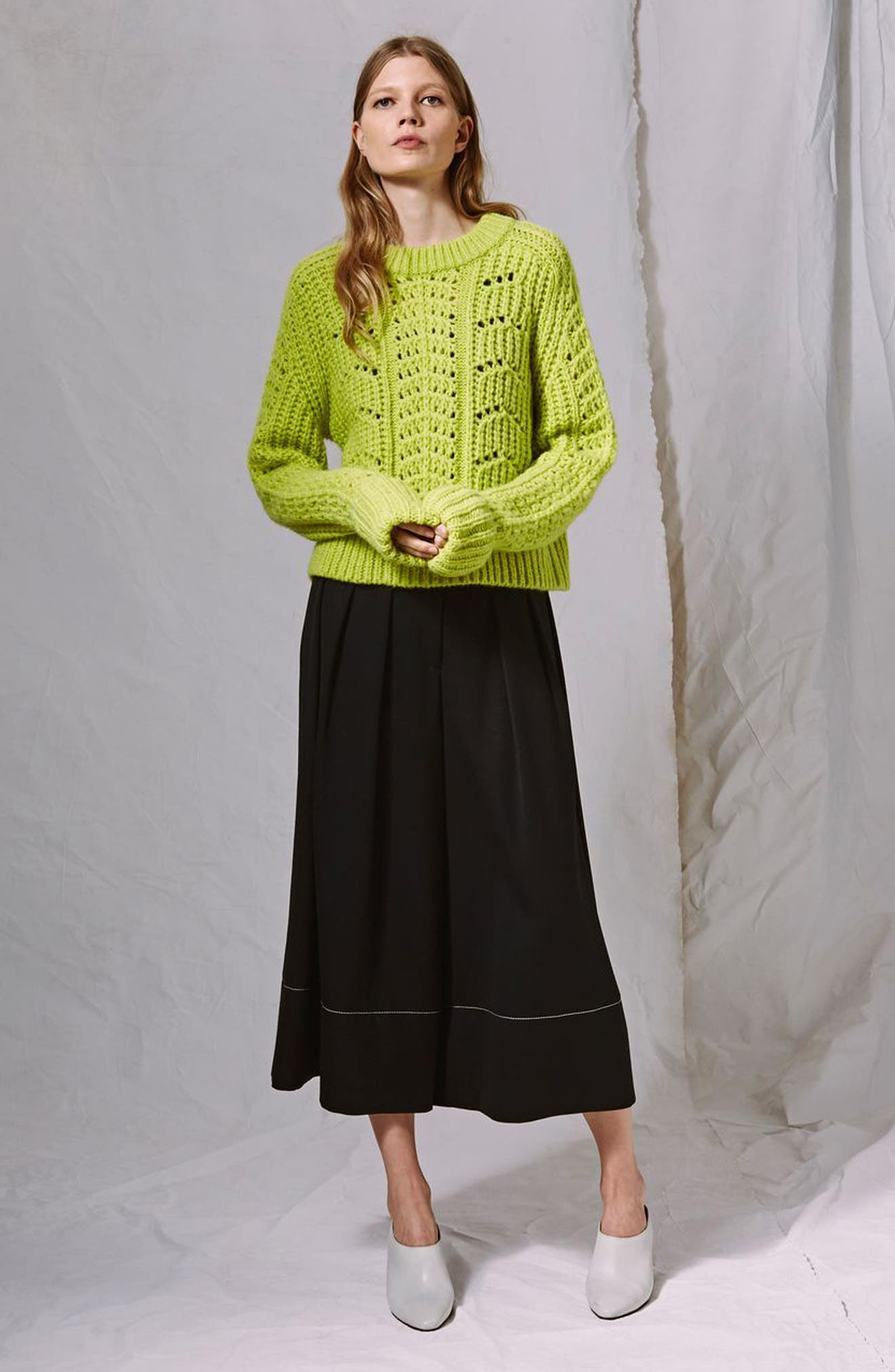 Cable Knit Sweater,                             Alternate thumbnail 4, color,                             Bright Green