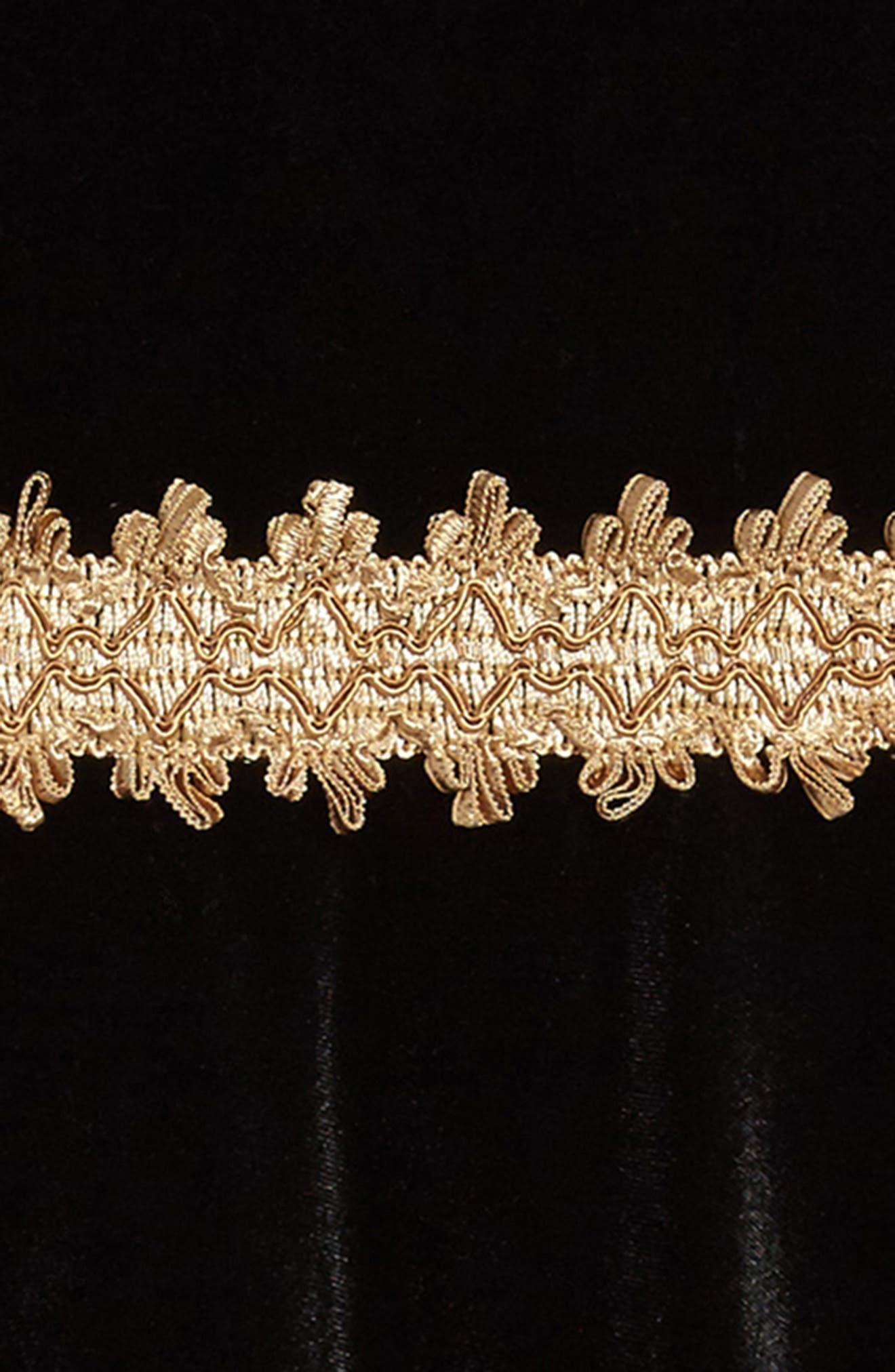 Velvet Dress,                             Alternate thumbnail 3, color,                             Black/ Gold