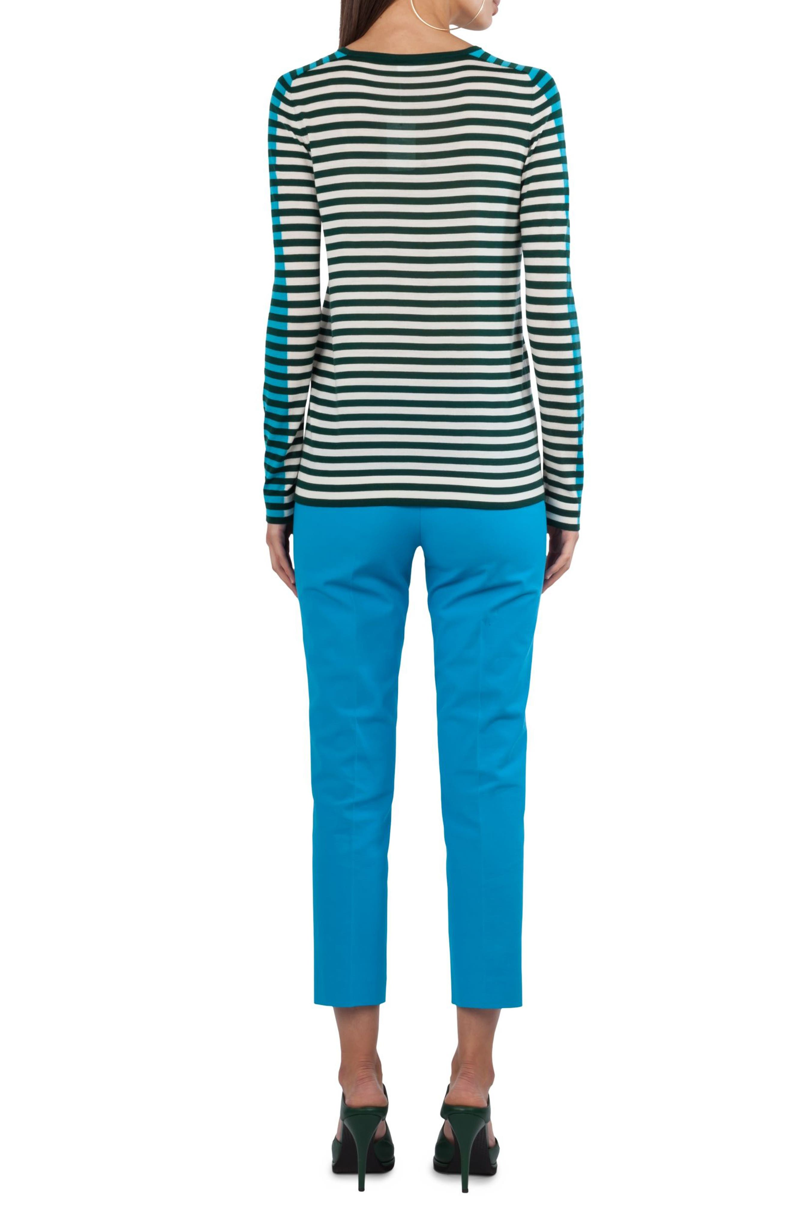 Stripe Wool Pullover,                             Alternate thumbnail 2, color,                             Navy / Turquoise