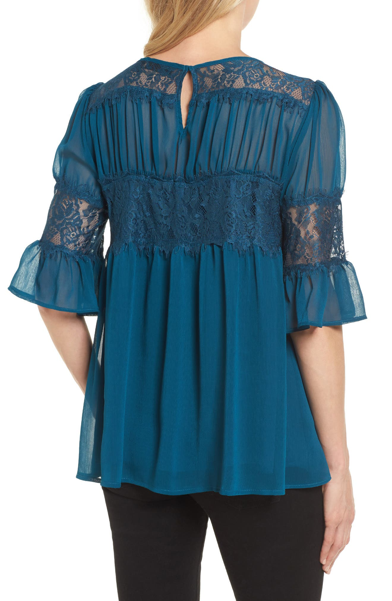 Alternate Image 2  - Halogen® Lace Panel Pleated Blouse