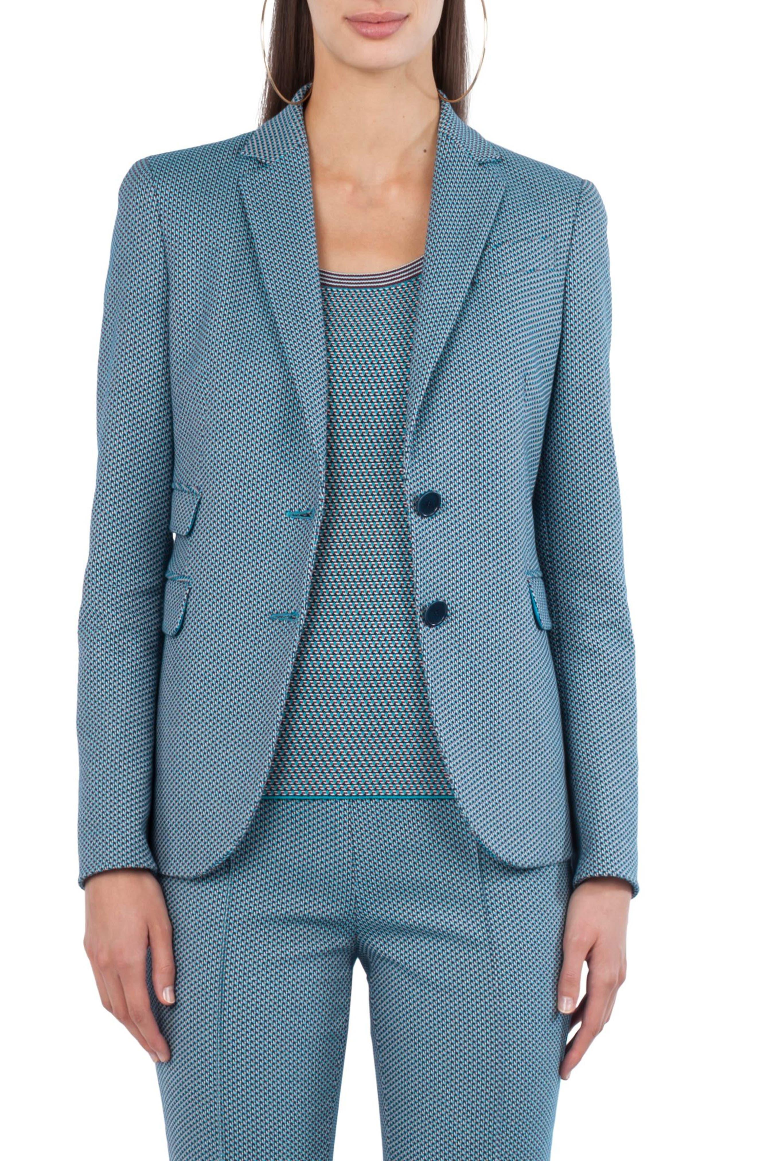 Fantasy Jacquard Knit Blazer,                             Main thumbnail 1, color,                             Turquoise Multi