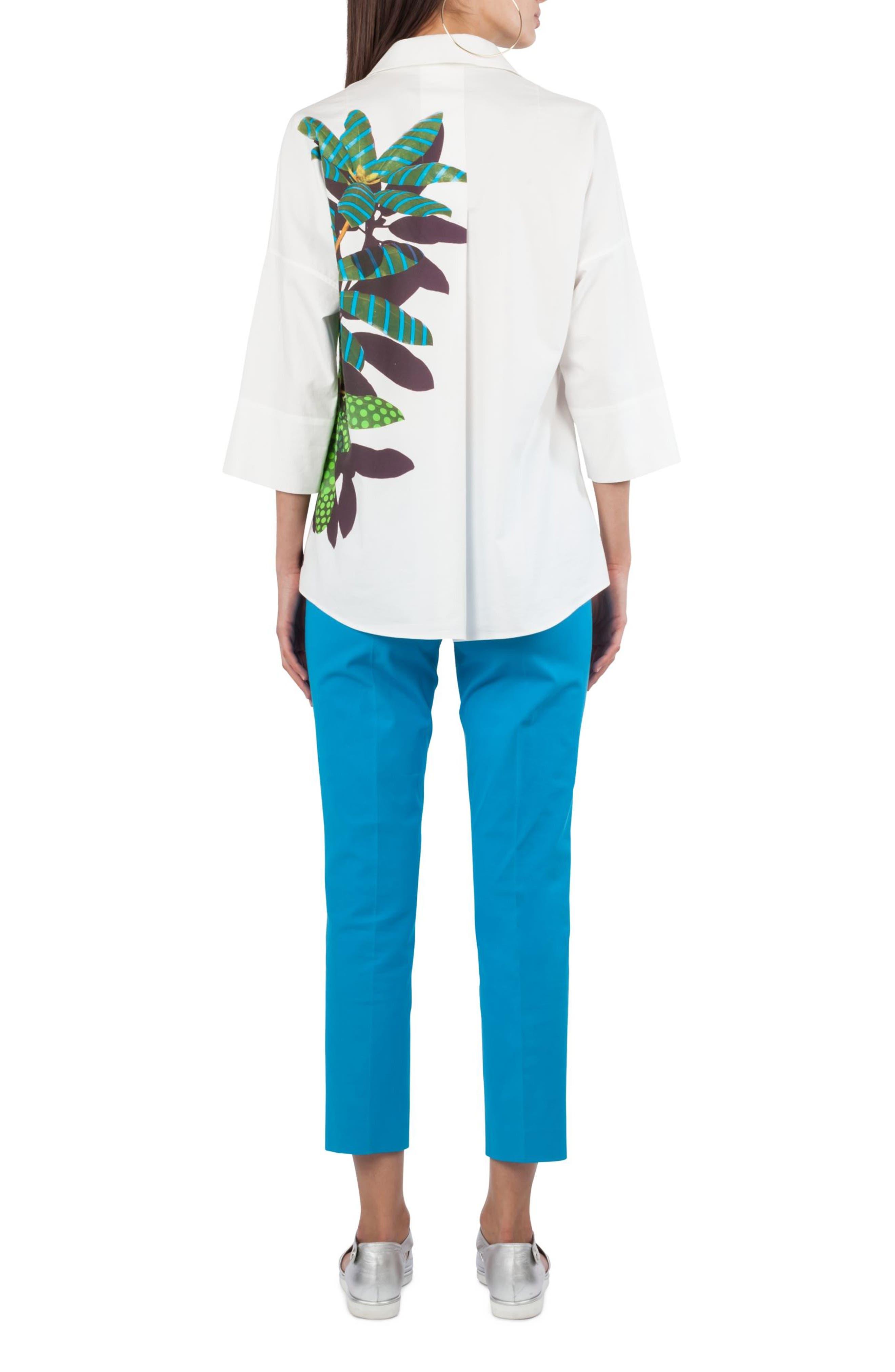 Frankie Stretch Cotton Pants,                             Alternate thumbnail 3, color,                             Turquoise
