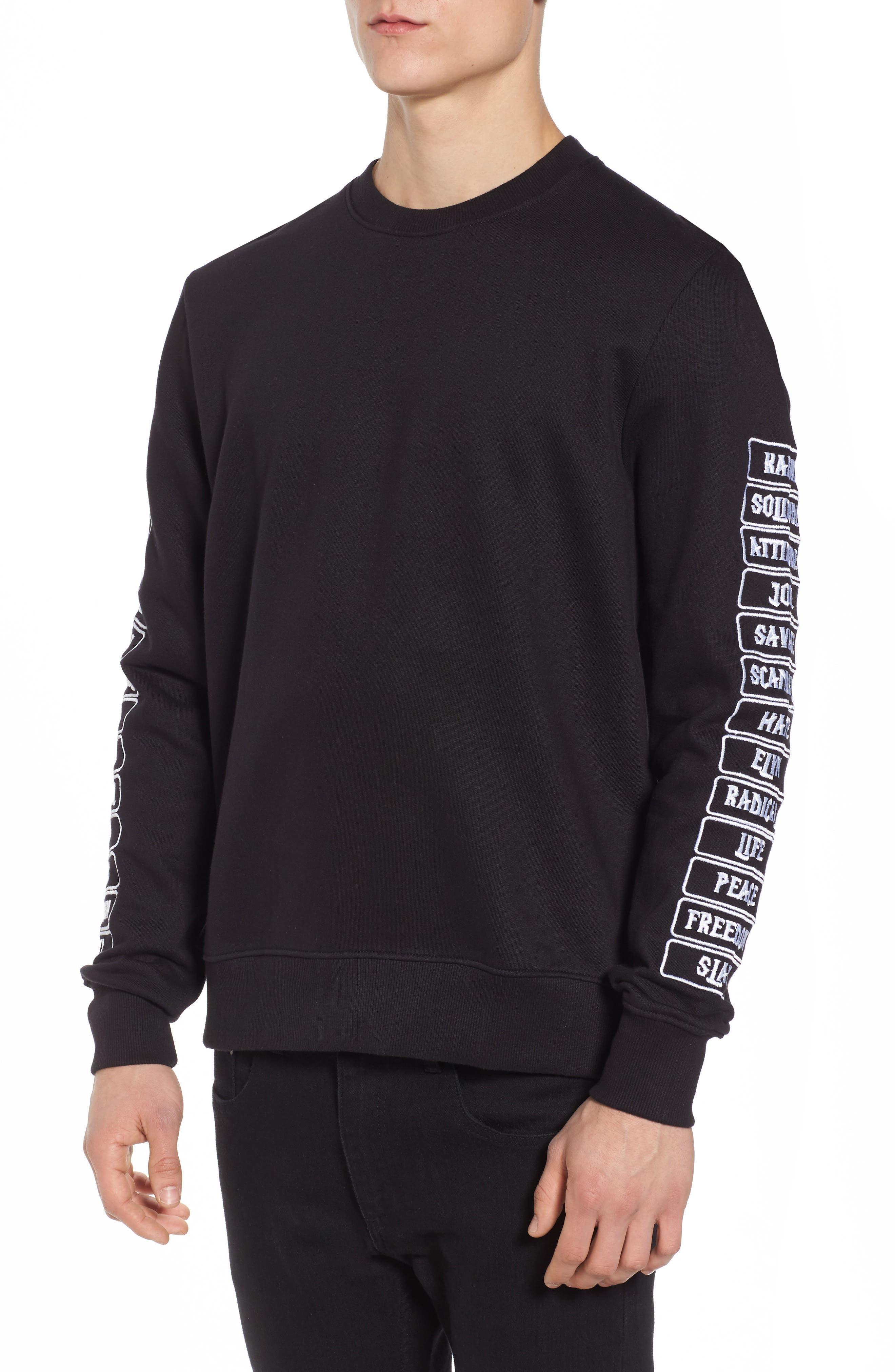 Meace Fleece Sweatshirt,                         Main,                         color, Black