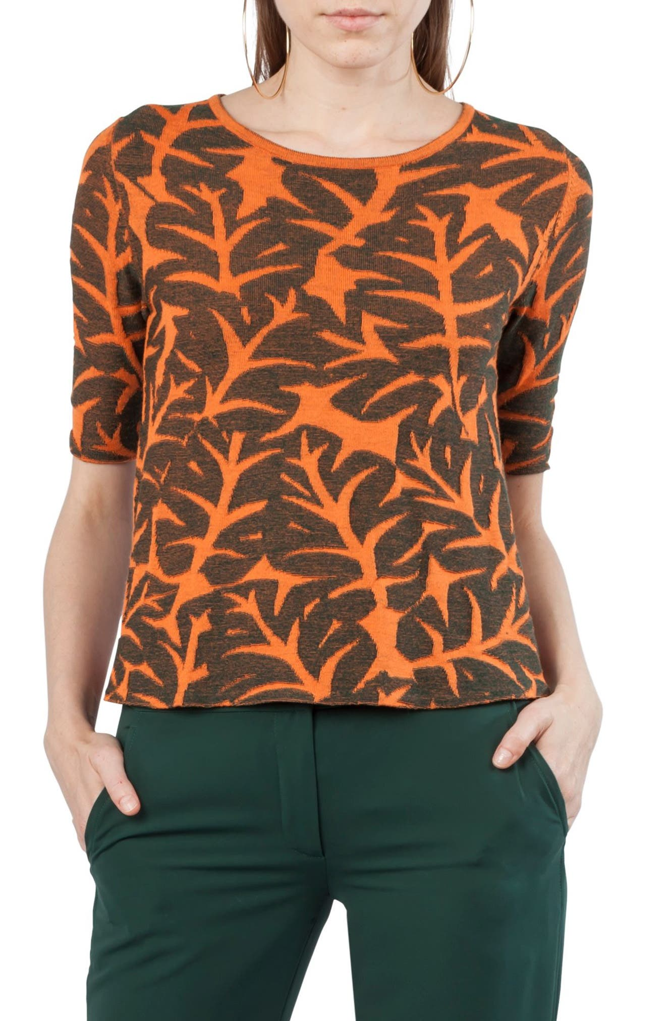Tropical Leaf Elbow Sleeve Wool & Cotton Sweater,                         Main,                         color, Papaya / Palm Leaf