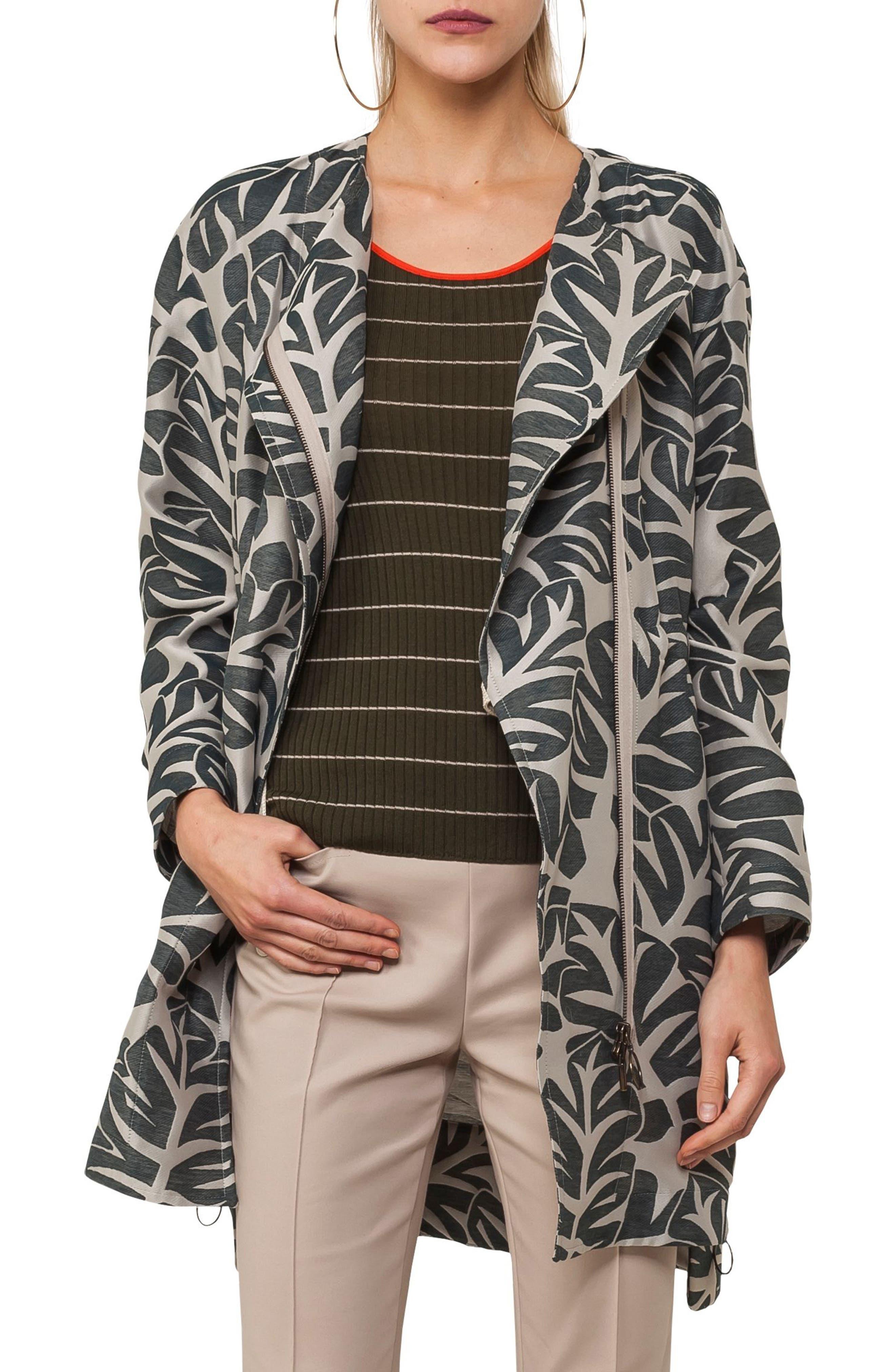 Tropical Leaf Jacquard Coat,                         Main,                         color, Sand / Avocado