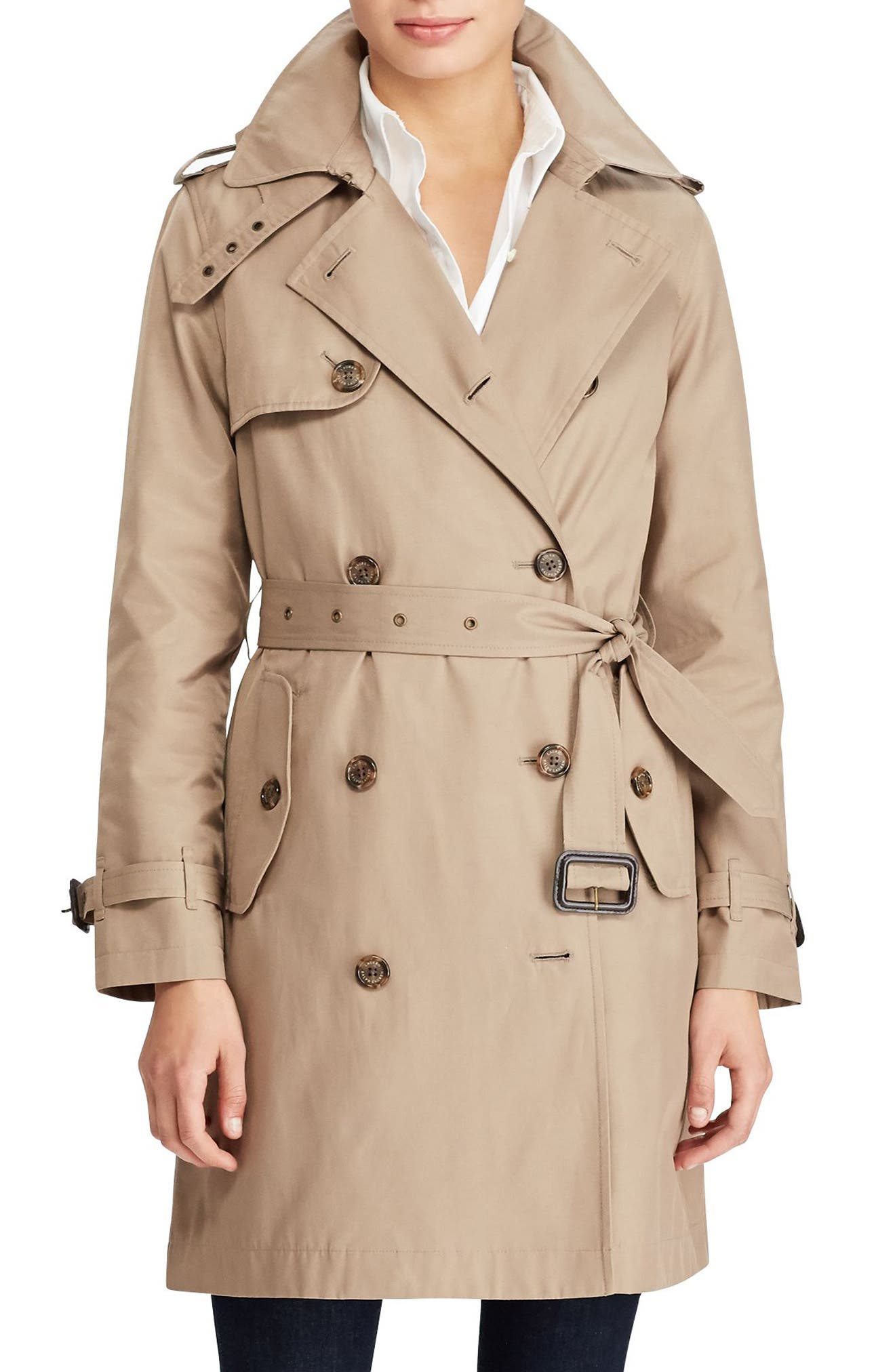 Cotton Blend A-Line Trench Coat,                         Main,                         color, Sand