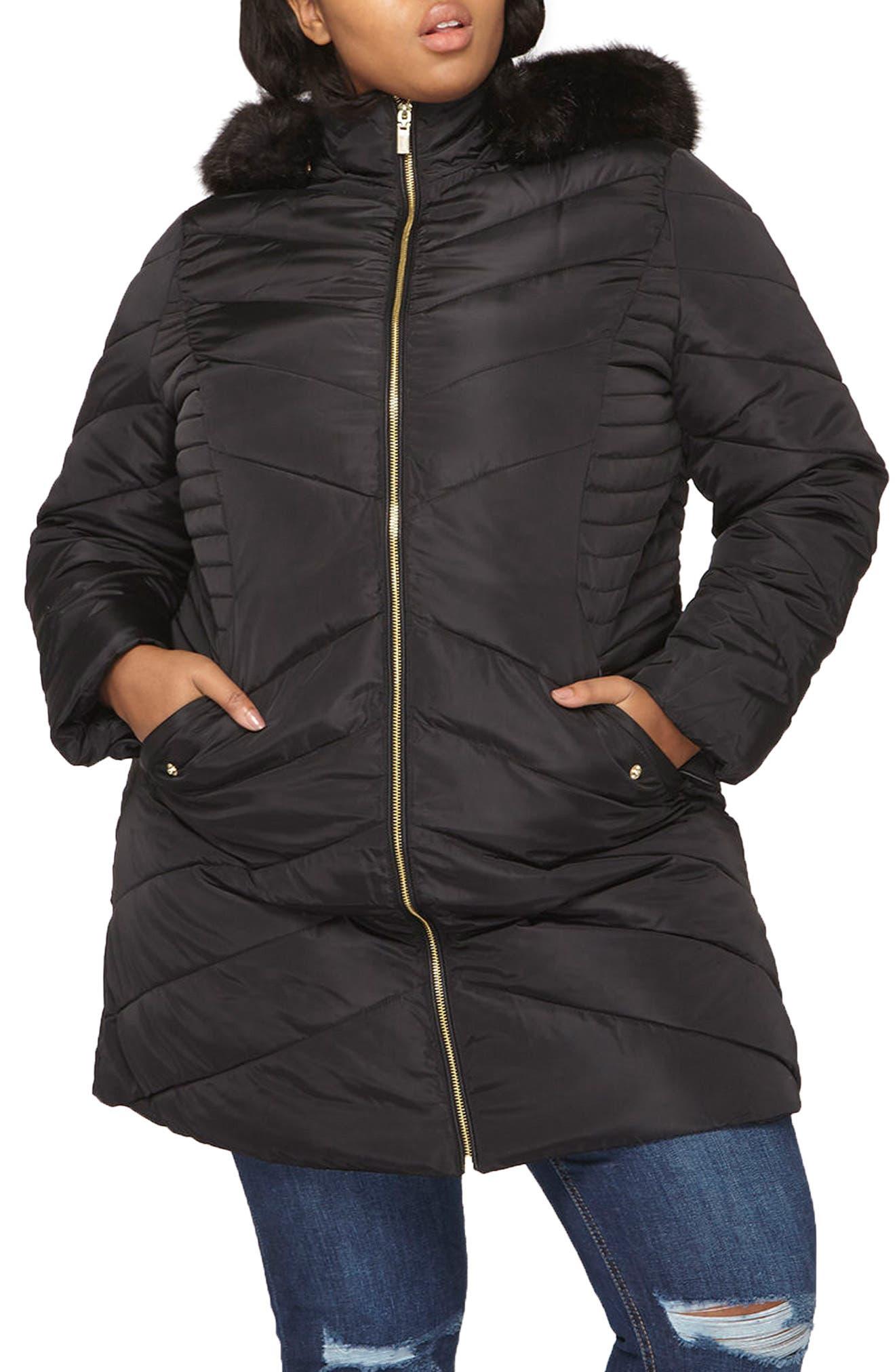 Faux Fur Trim Hooded Puffer Coat,                         Main,                         color, Black