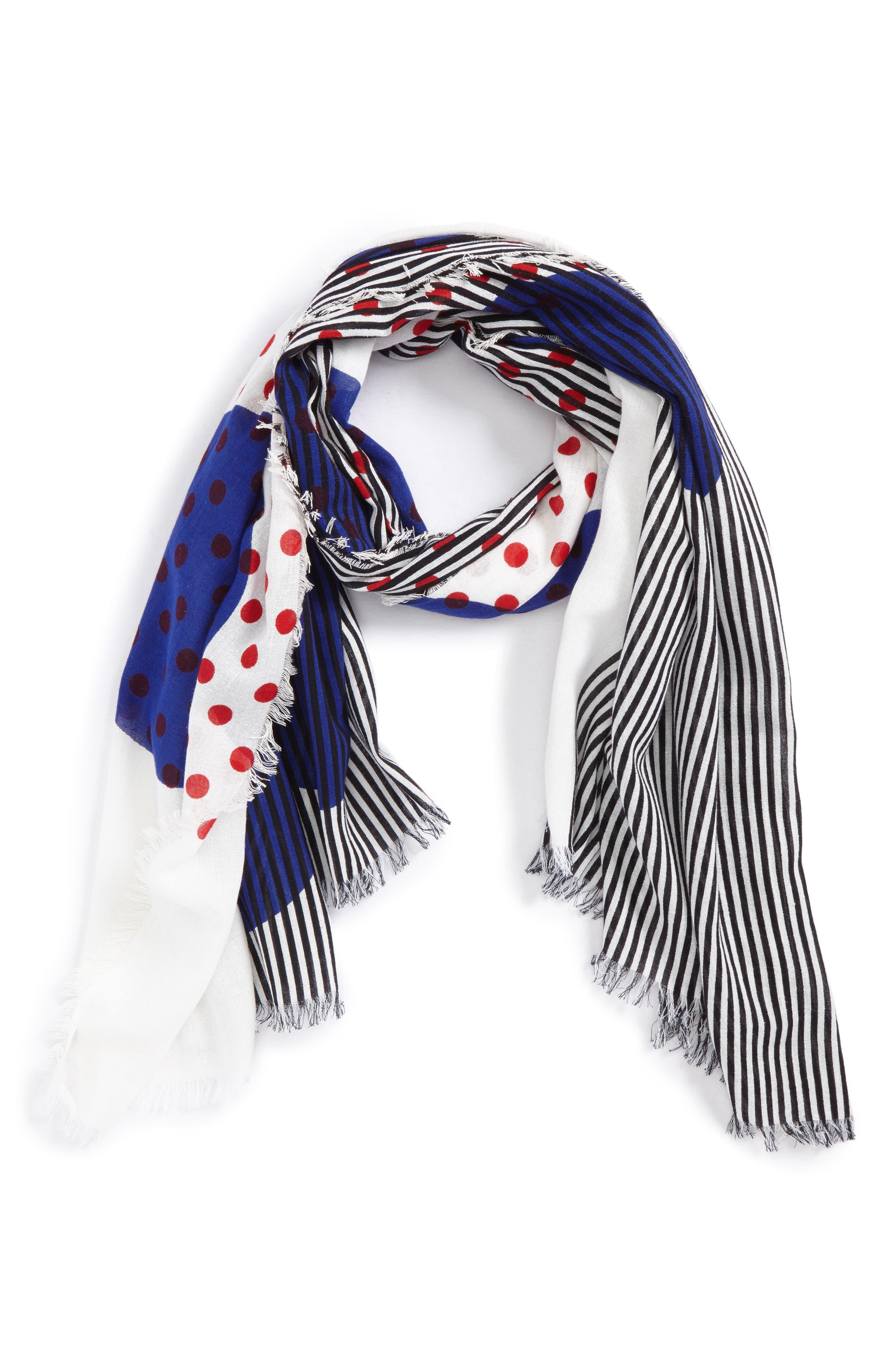Half Stripe Dot Cotton & Silk Scarf,                         Main,                         color, Bright Navy