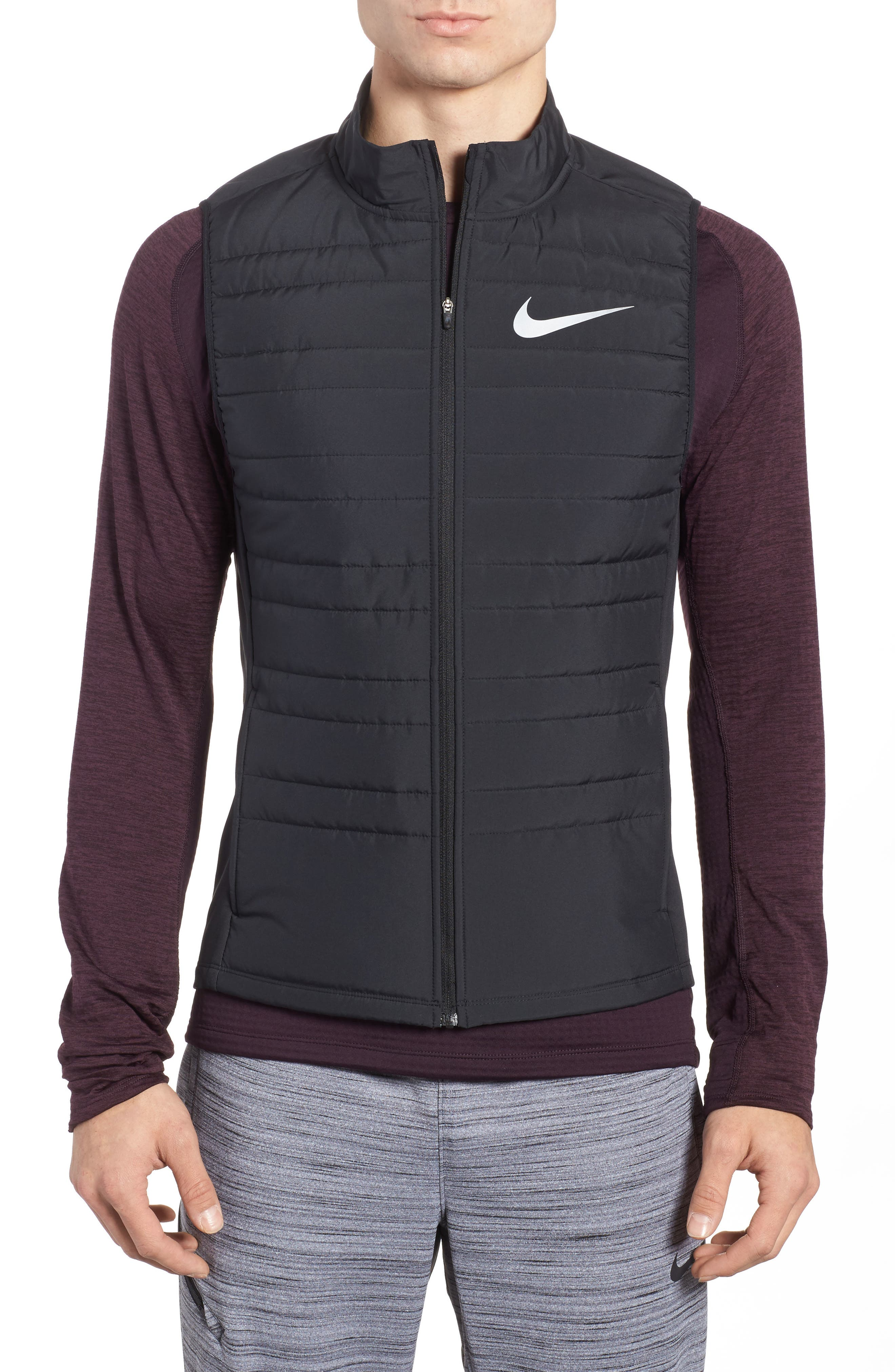 Essential Running Vest,                         Main,                         color, Black/ Black/ Metallic Silver