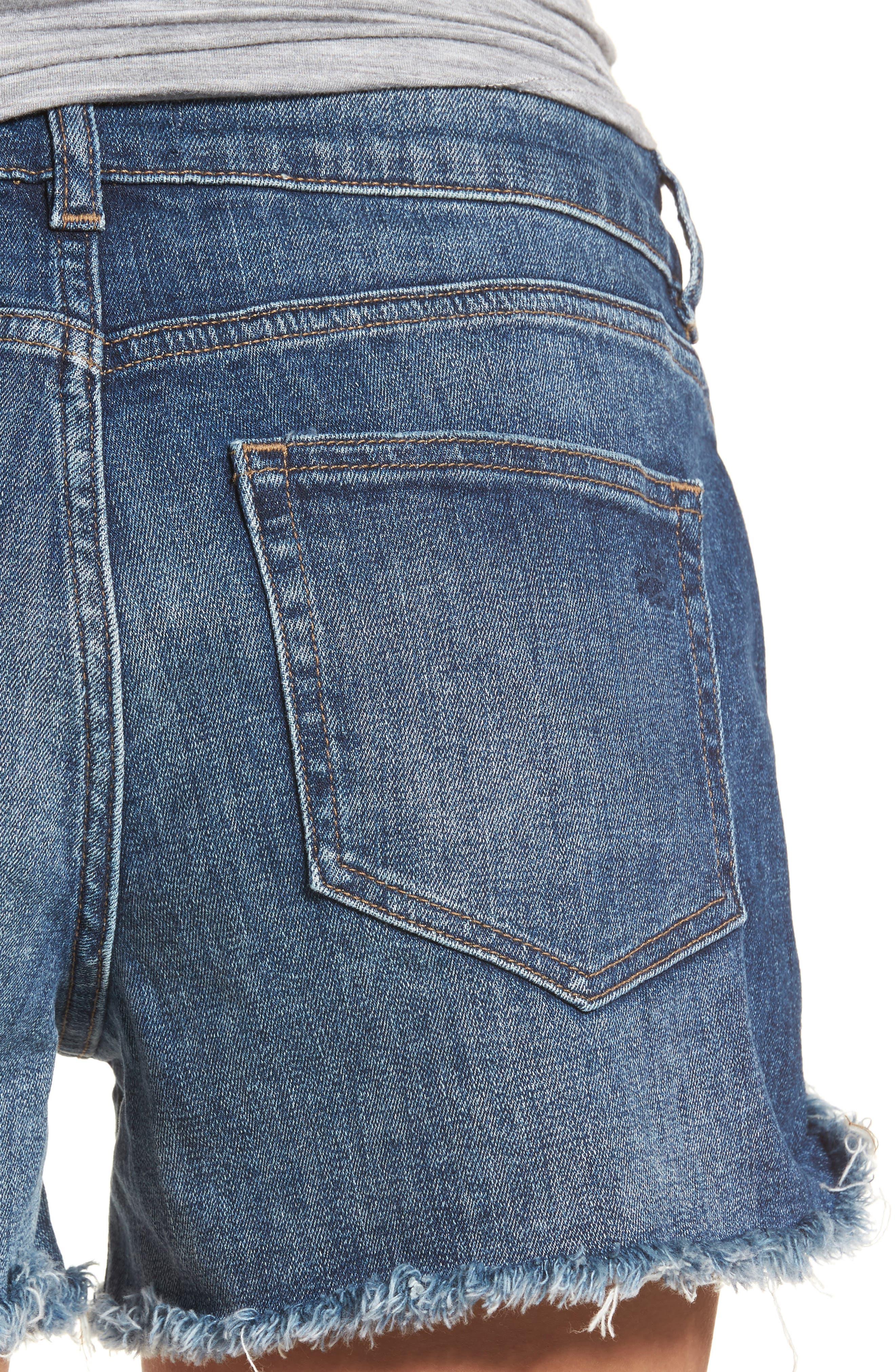 Karlie Cutoff Denim Boyfriend Shorts,                             Alternate thumbnail 4, color,                             Bluegrass