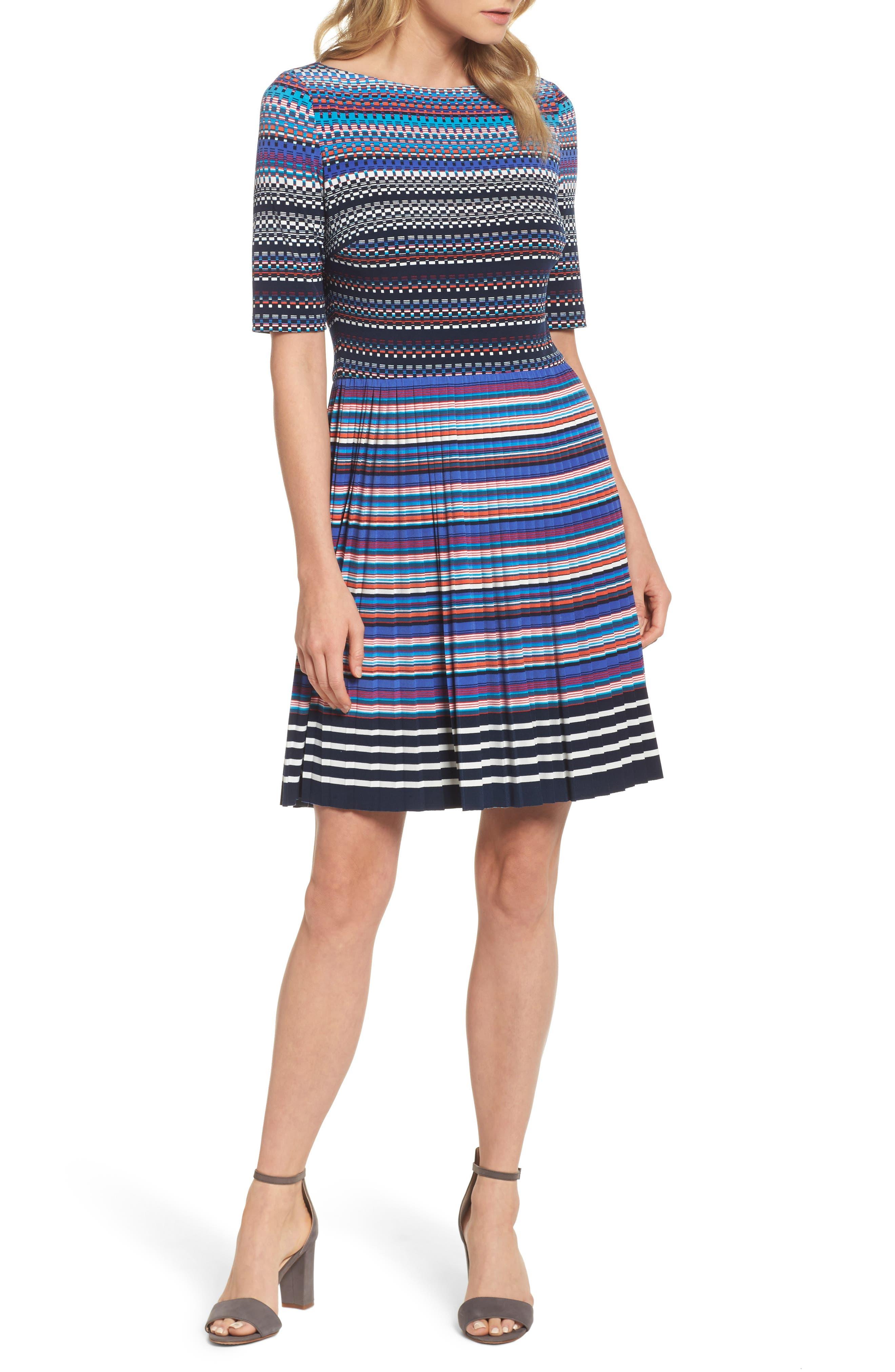 Pleat Fit & Flare Dress,                         Main,                         color, Soft White/ Lapis