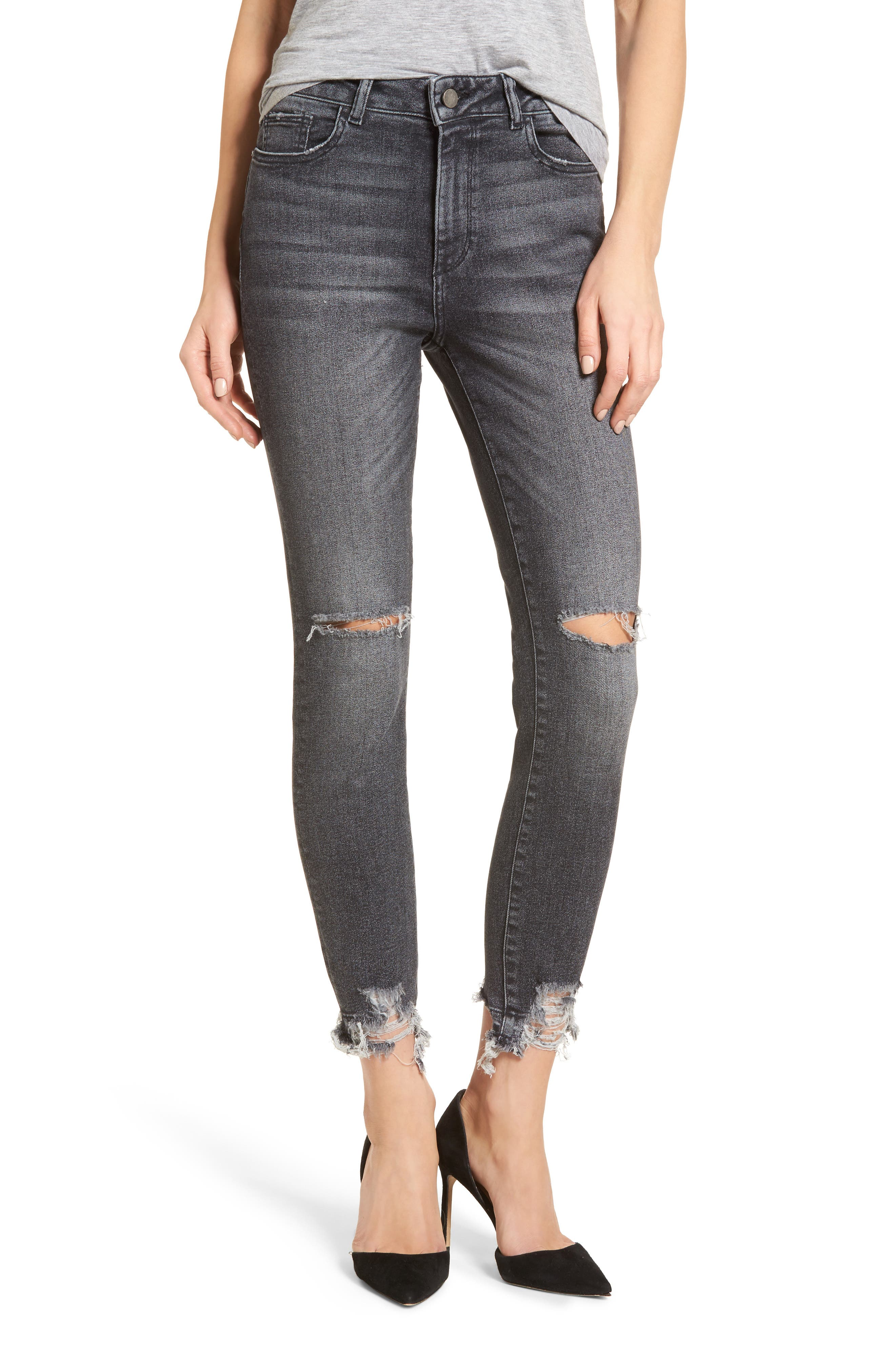 Farrow Ripped Ankle Jeans,                             Main thumbnail 1, color,                             Light Smoke