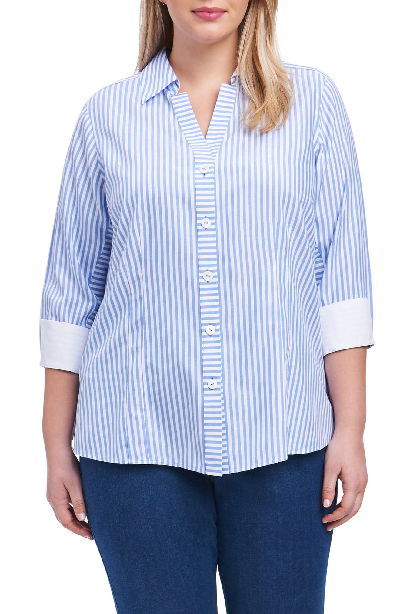 Alternate Image 1 Selected - Foxcroft Taylor Button Down Shirt (Plus Size)