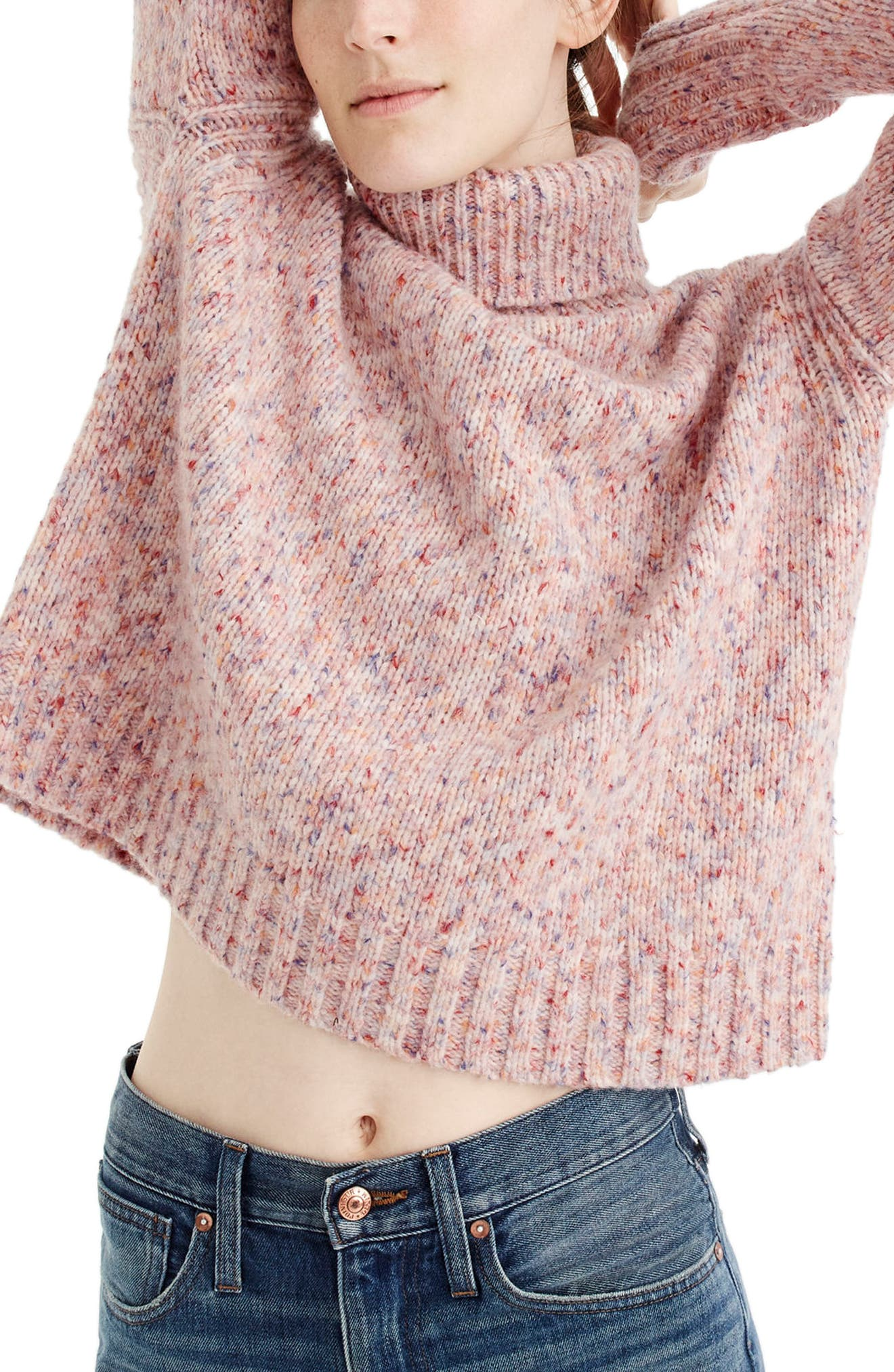 J.Crew Marled Wool Blend Turtleneck Sweater,                         Main,                         color, Marled Confetti