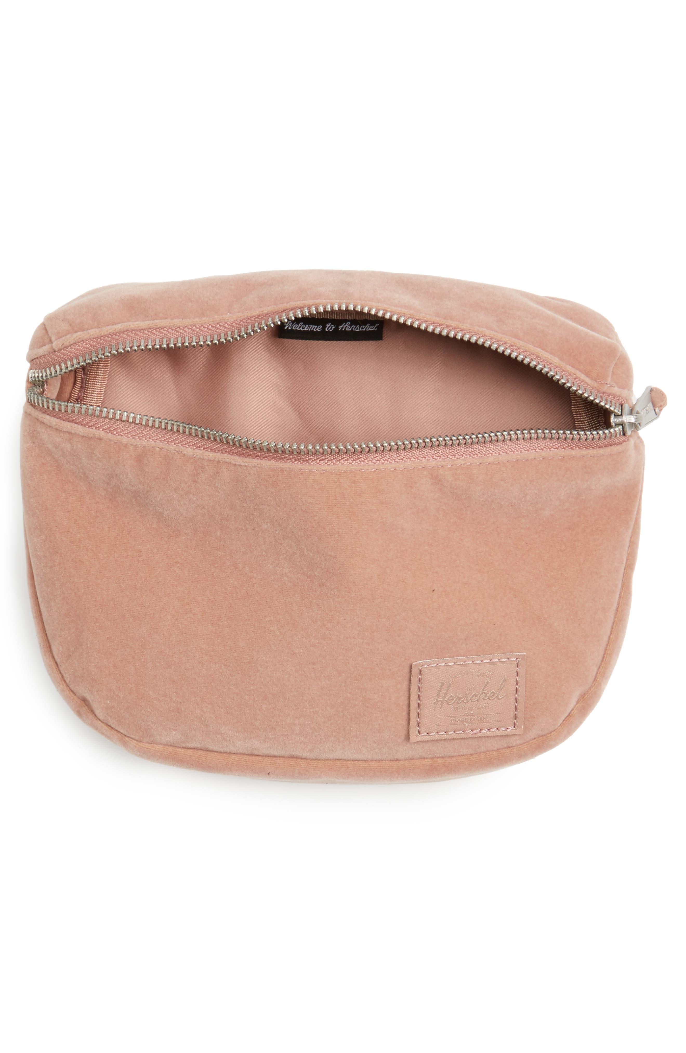Fifteen Velvet Belt Bag,                             Alternate thumbnail 4, color,                             Ash Rose