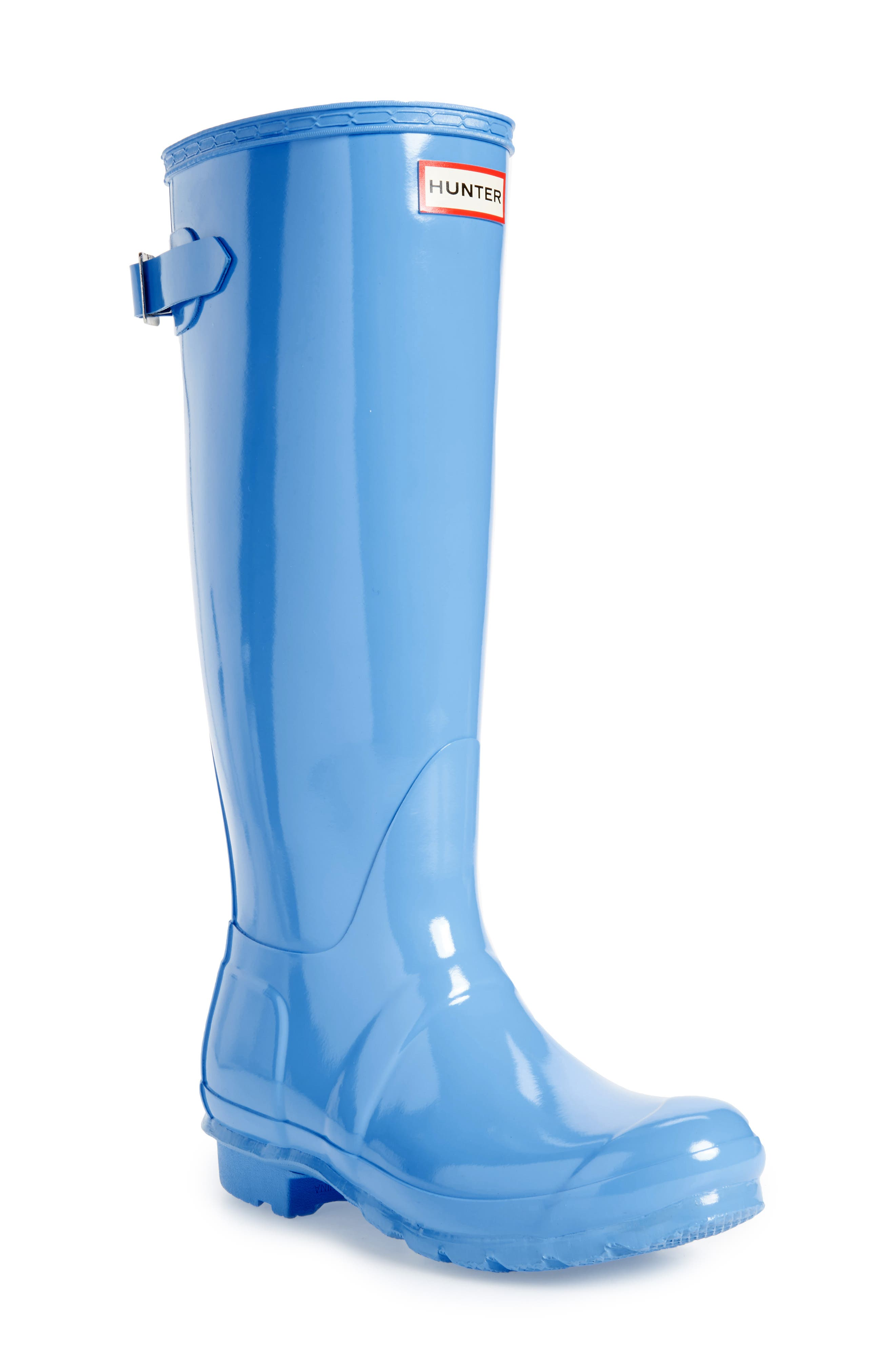 Adjustable Back Gloss Rain Boot,                             Main thumbnail 1, color,                             Forget Me Not