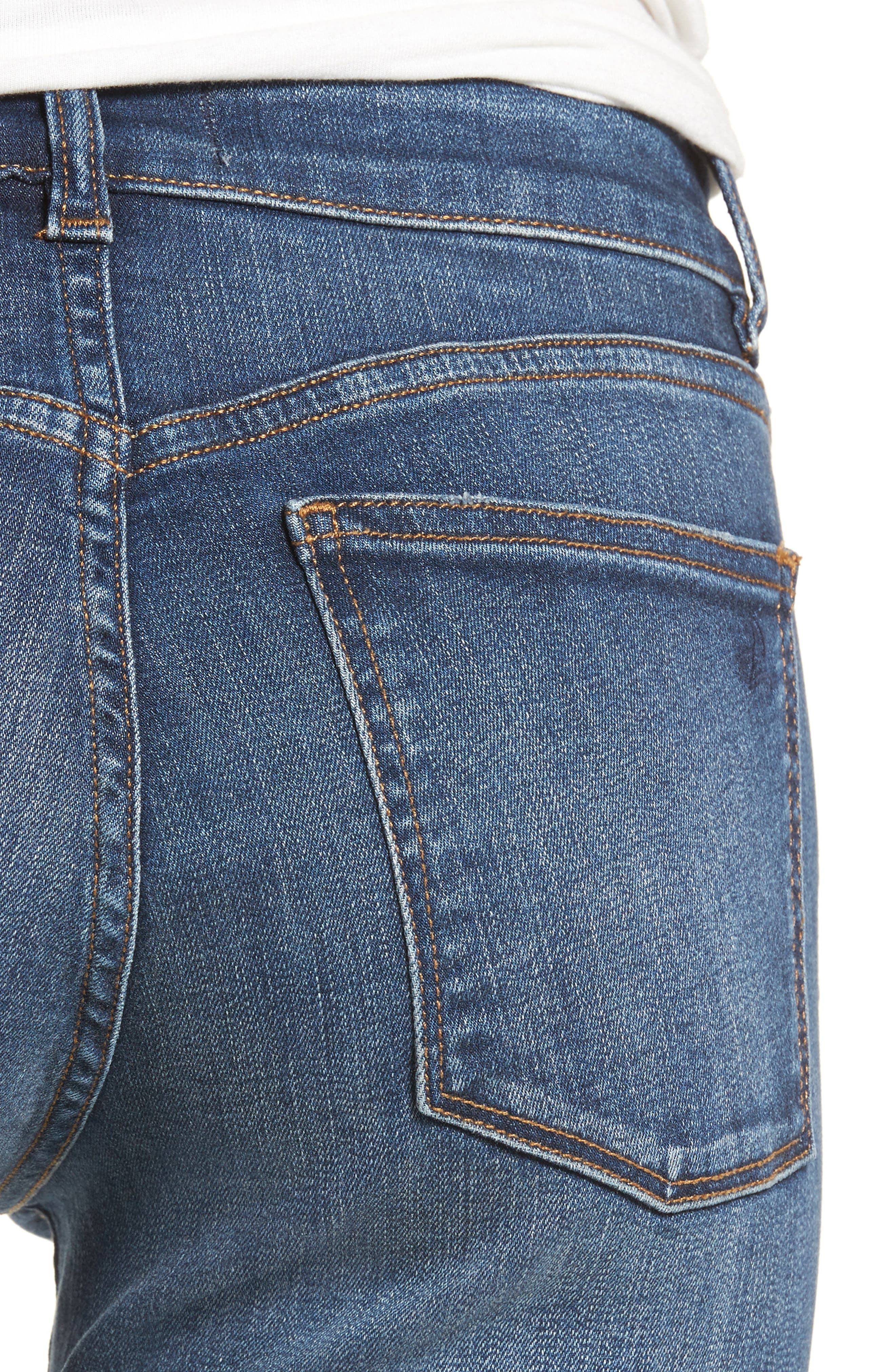 Florence Released Step Hem Skinny Jeans,                             Alternate thumbnail 4, color,                             Rosewood