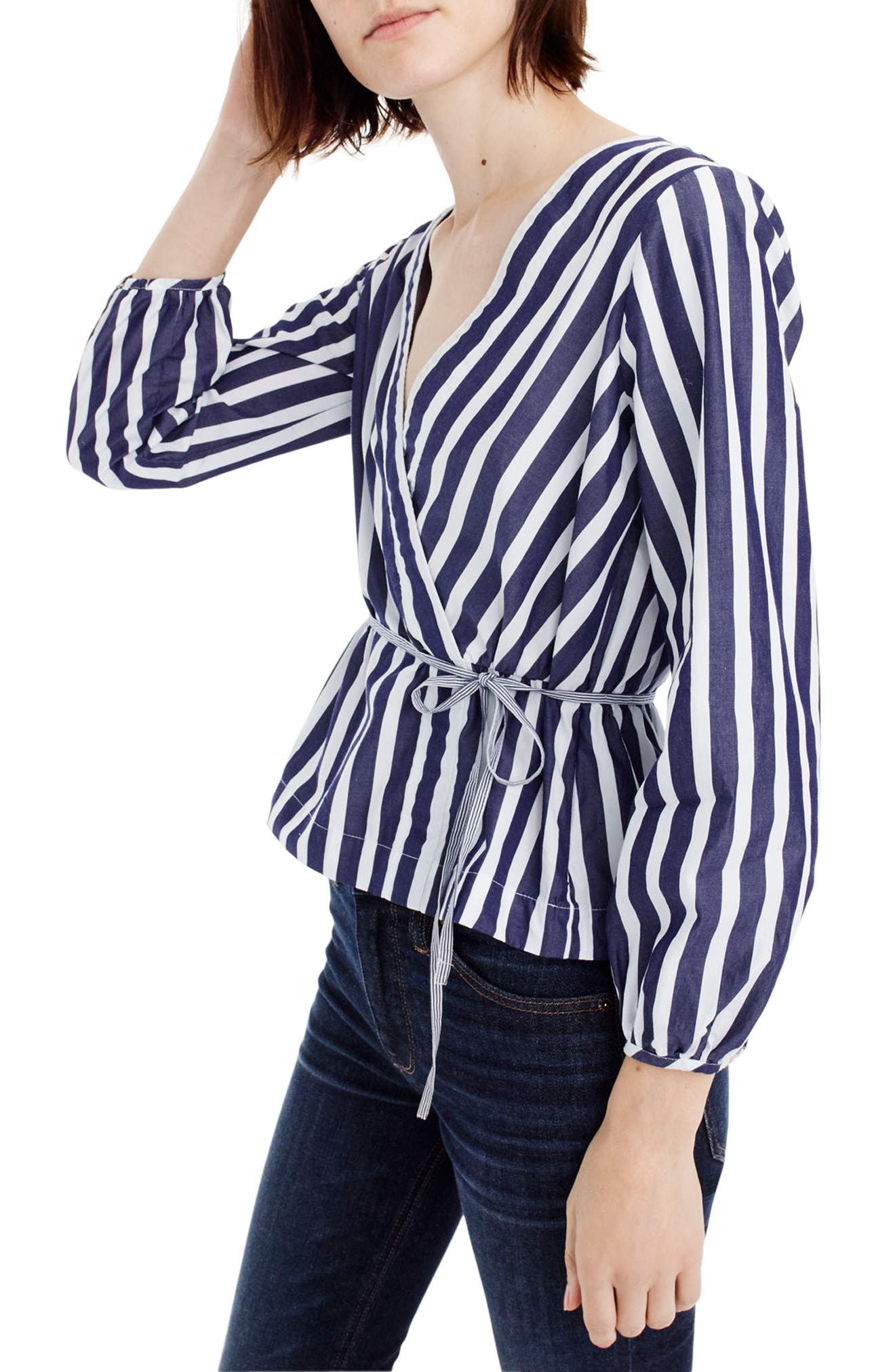 J.Crew Stripe Faux Wrap Top,                             Alternate thumbnail 2, color,                             Navy/ White