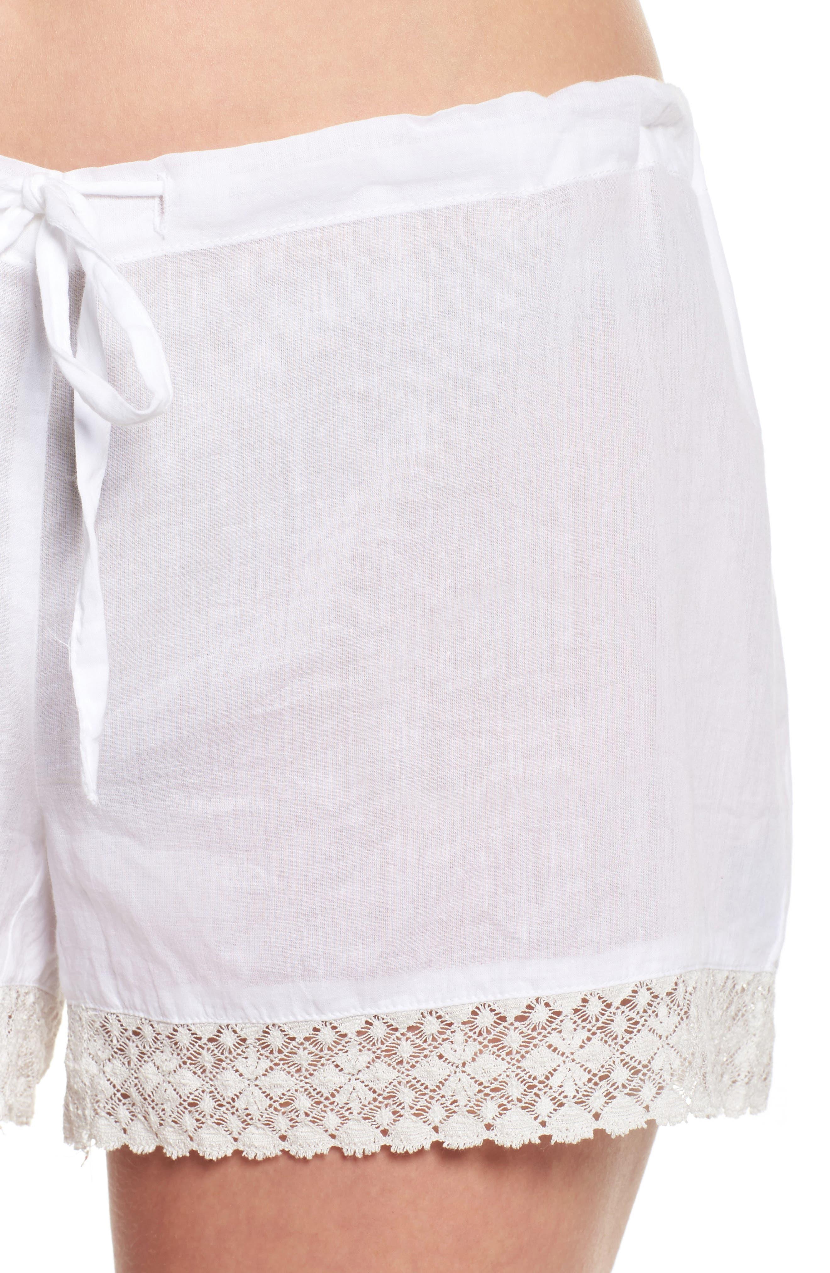 Lace Trim Sleep Shorts,                             Alternate thumbnail 6, color,                             White