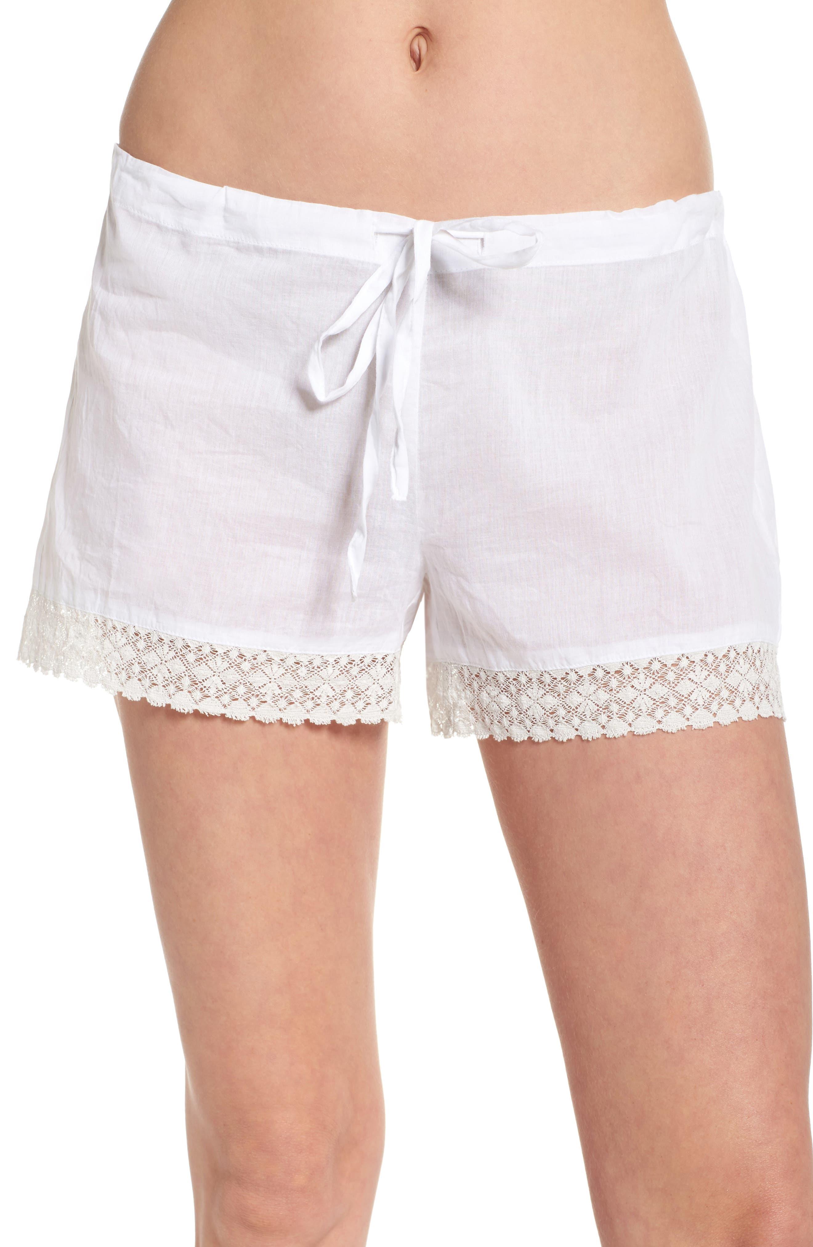 Lace Trim Sleep Shorts,                             Main thumbnail 1, color,                             White