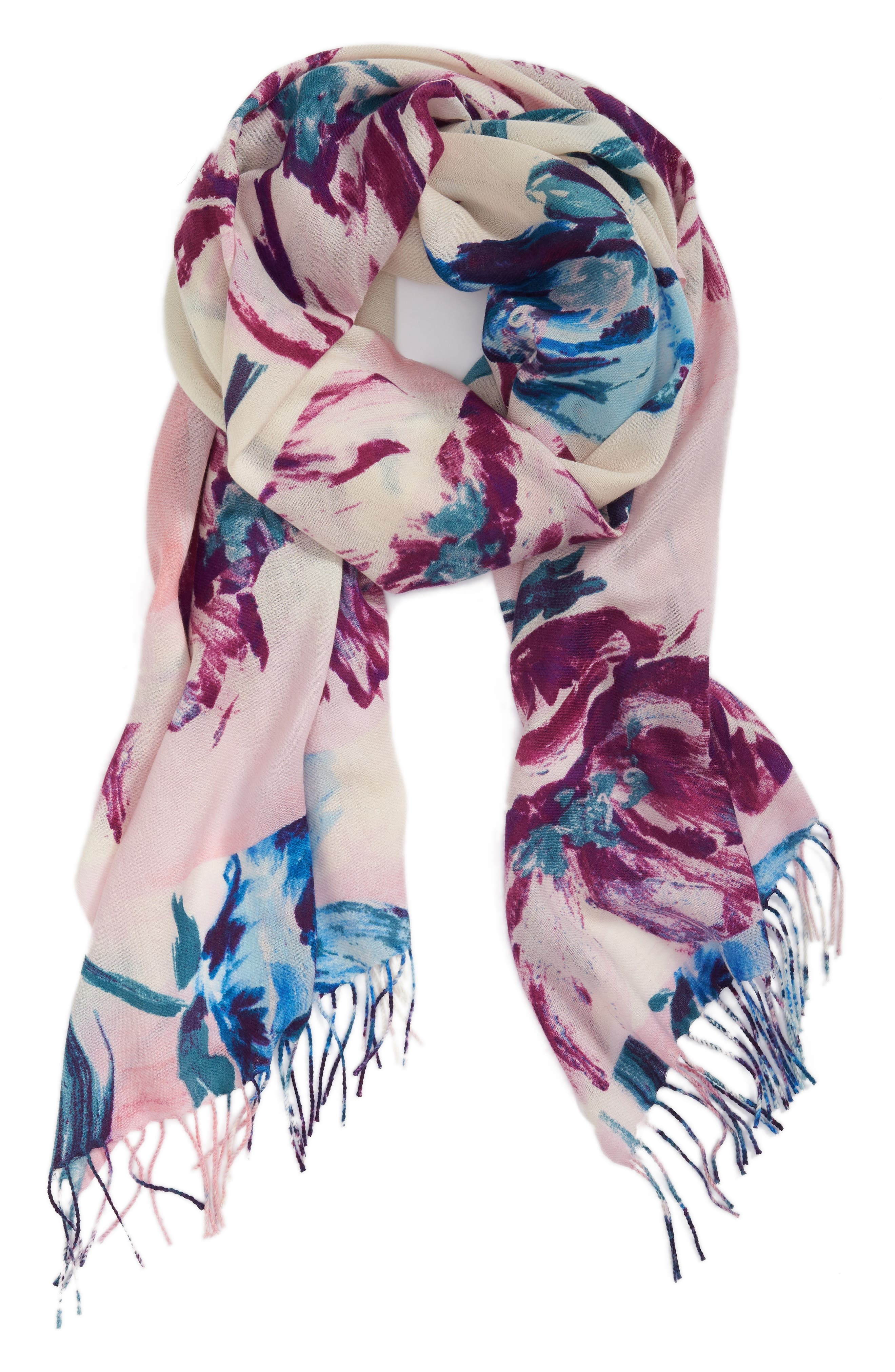 Tissue Print Wool & Cashmere Wrap Scarf,                             Alternate thumbnail 2, color,                             Pink Abstract Still Life