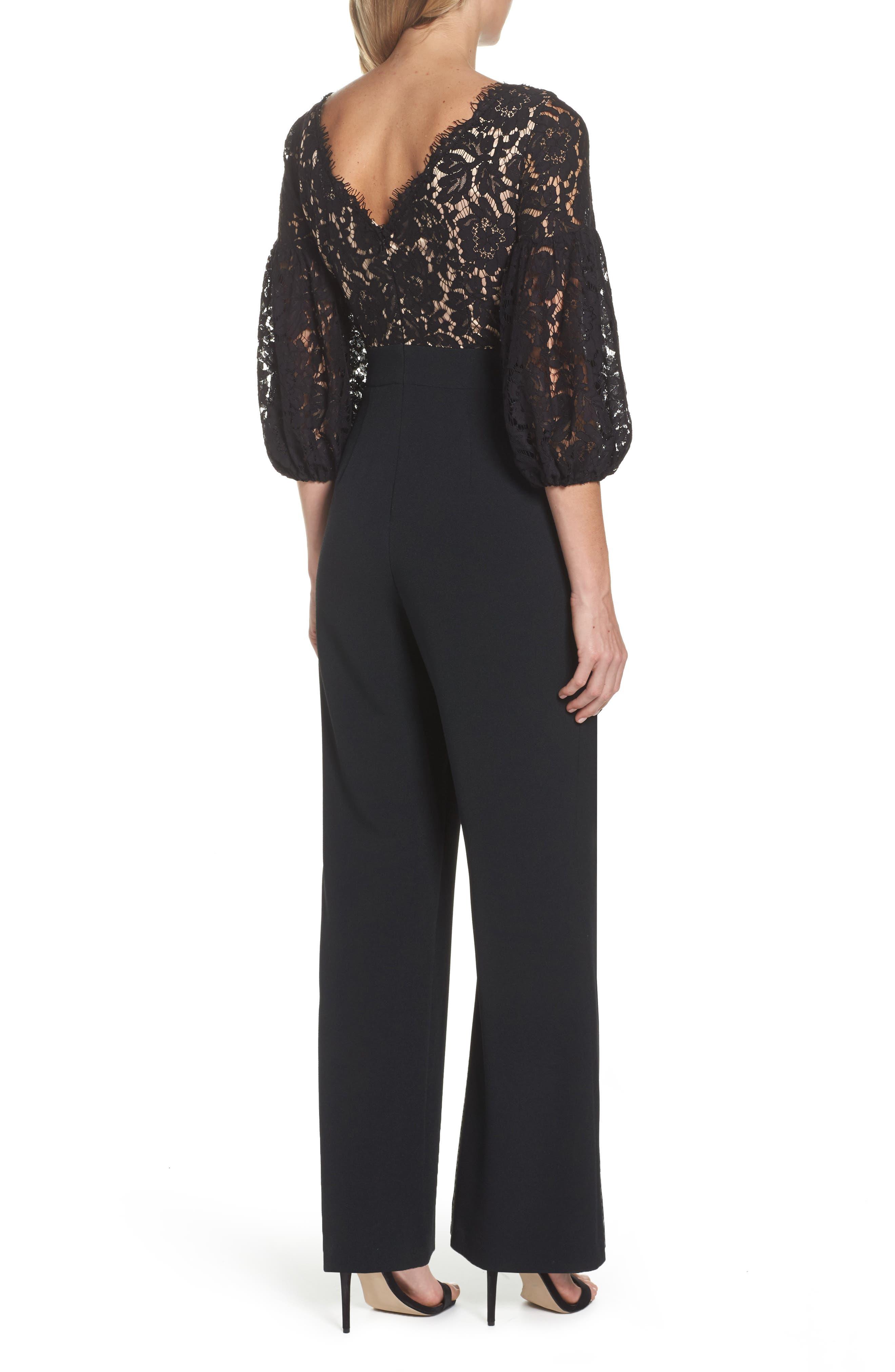 Lace & Crepe Jumpsuit,                             Alternate thumbnail 2, color,                             Black