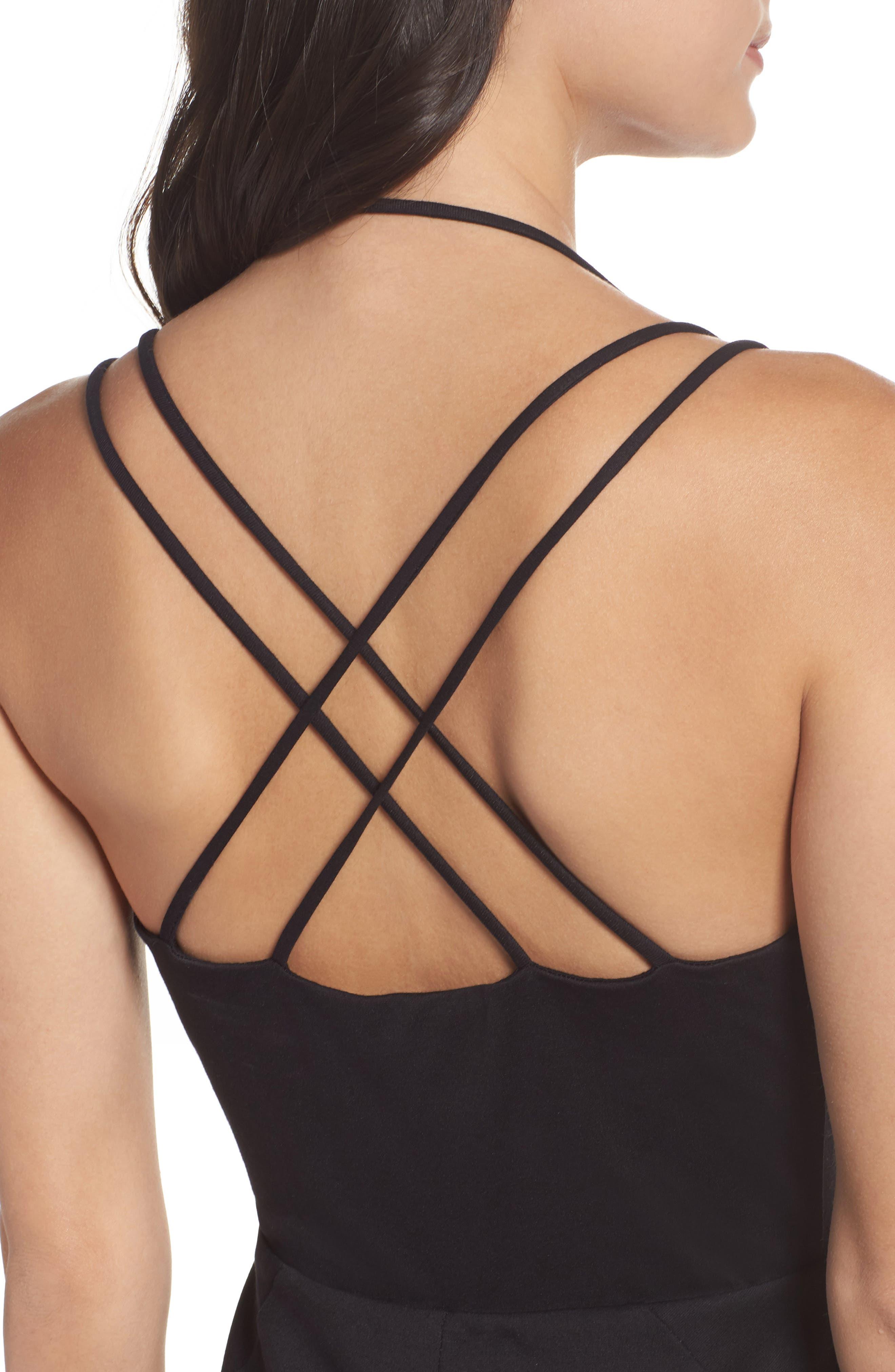 Strappy Body-Con Dress,                             Alternate thumbnail 4, color,                             Black