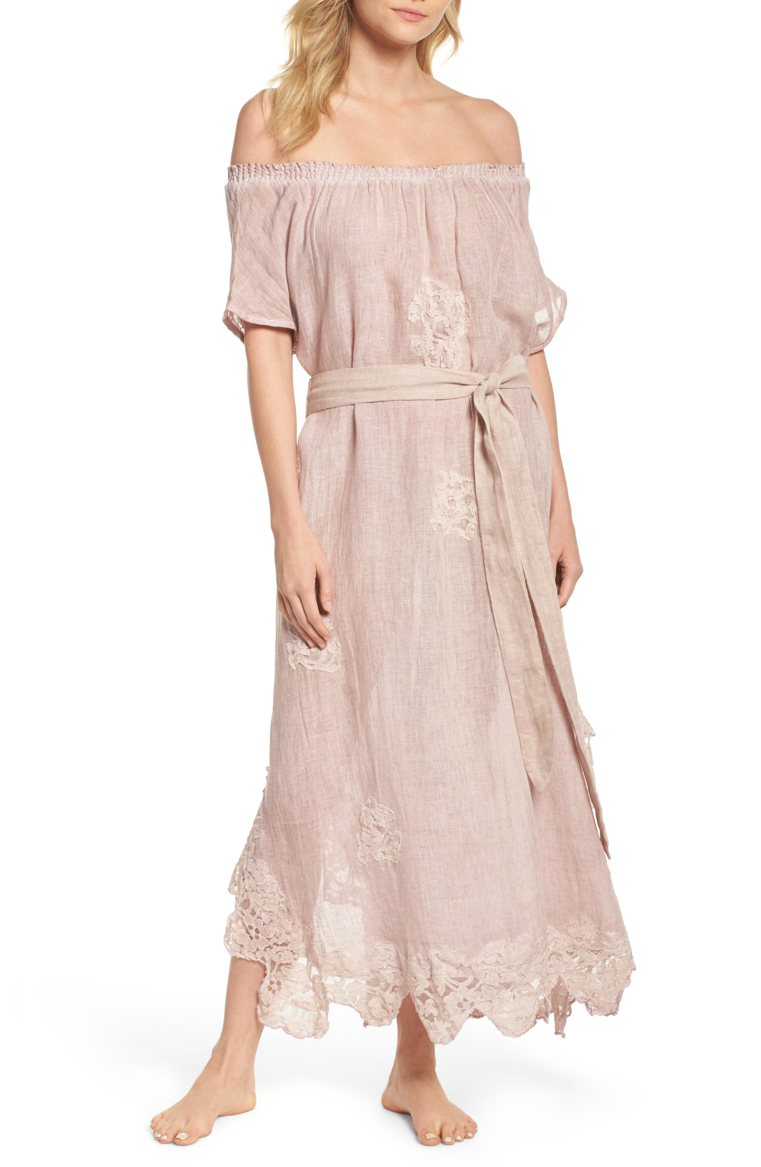 Daisy Linen Cover-Up Dress,                             Main thumbnail 1, color,                             Dusty Pink