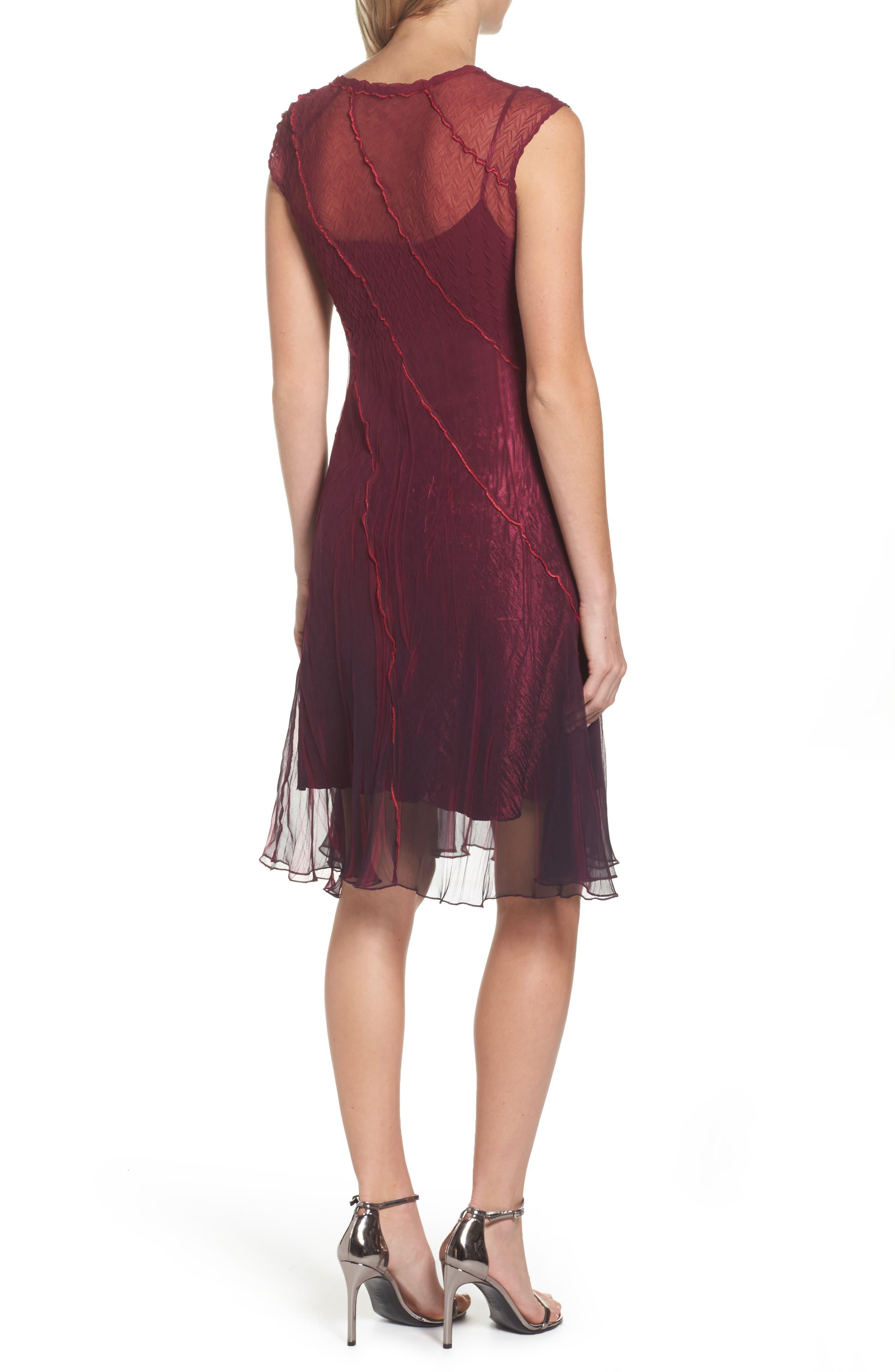 Chiffon A-Line Dress,                             Alternate thumbnail 2, color,                             Red Plum Blue Ombre