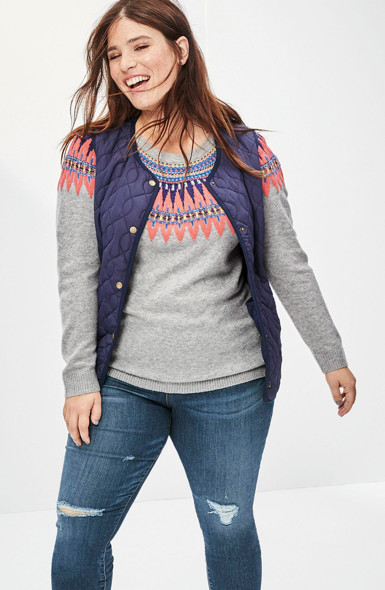 Tie Back Patterned Sweater,                             Alternate thumbnail 2, color,                             Grey- Pink Pattern