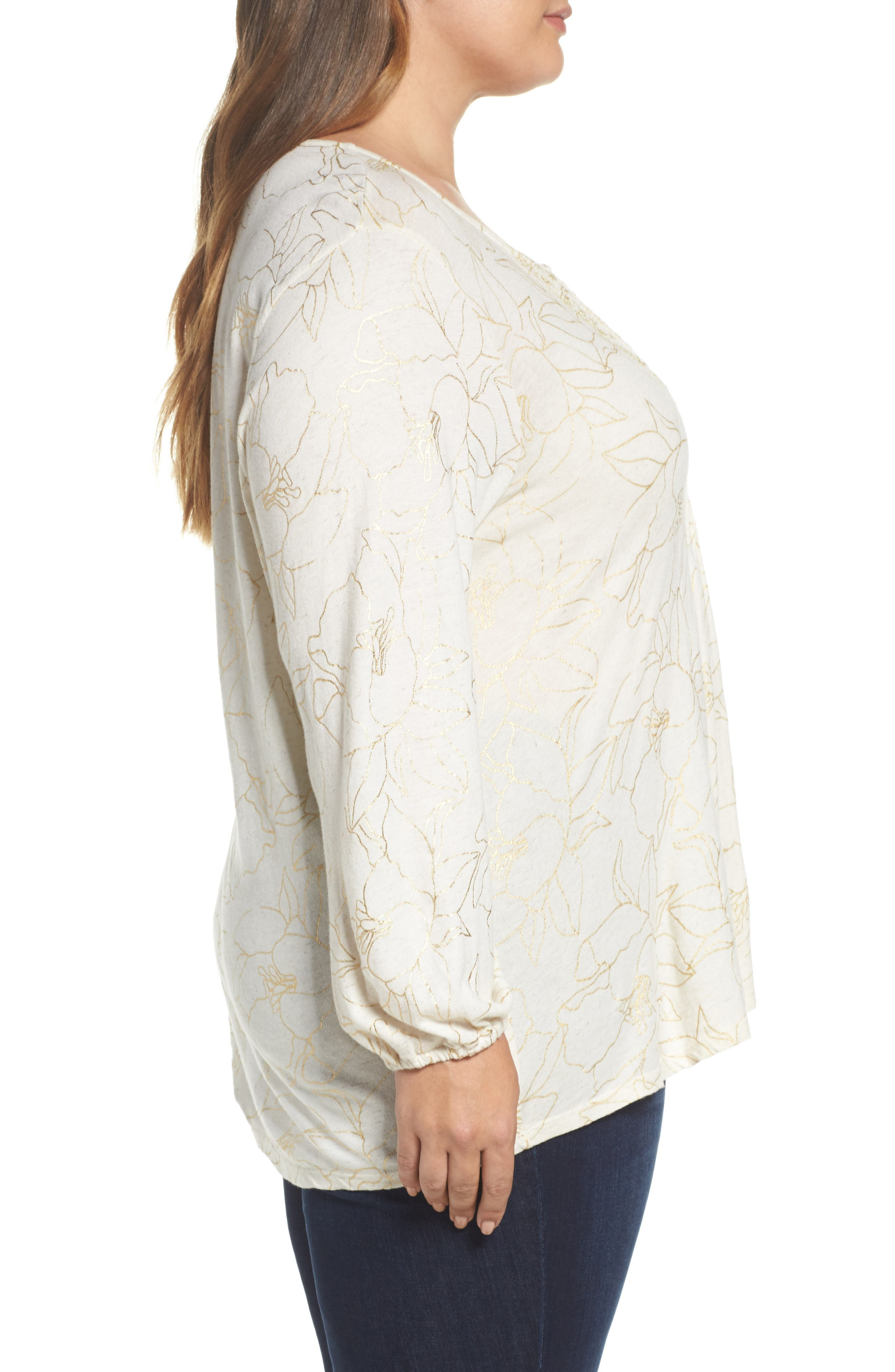 Embroidered Foil Print Top,                             Alternate thumbnail 3, color,                             Natural Multi