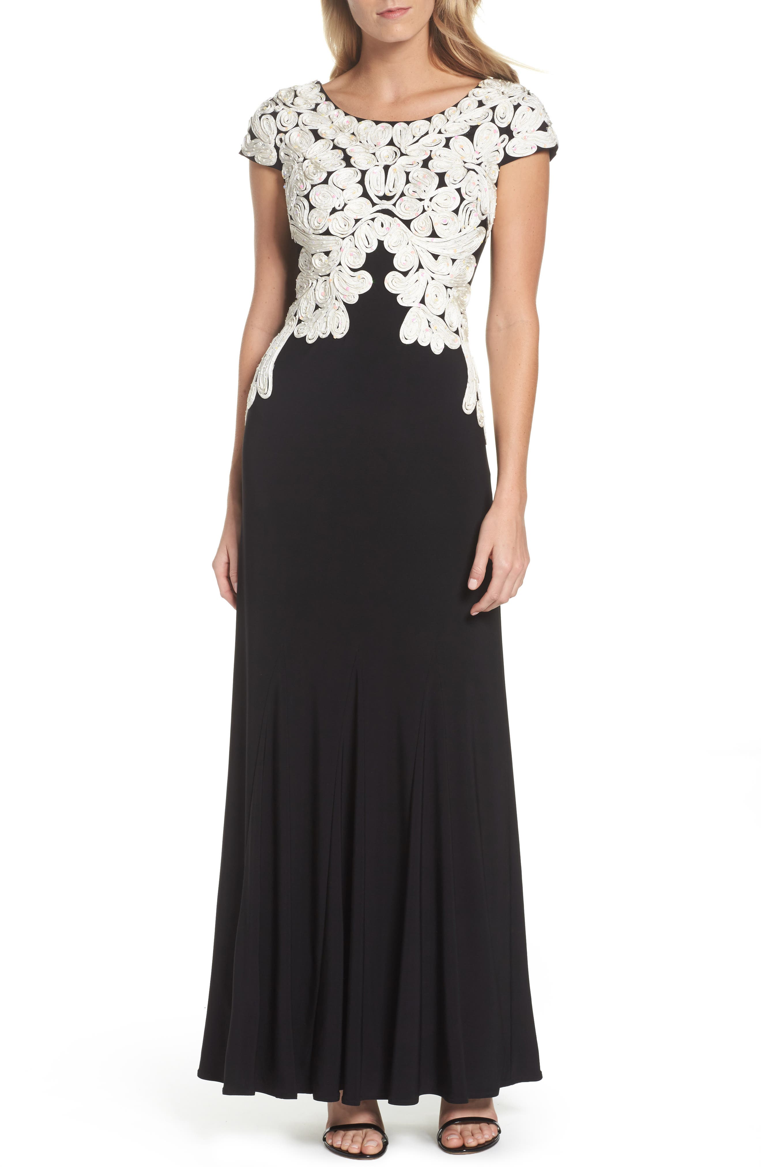 Soutache Bodice Gown,                         Main,                         color, Black/ Ivory