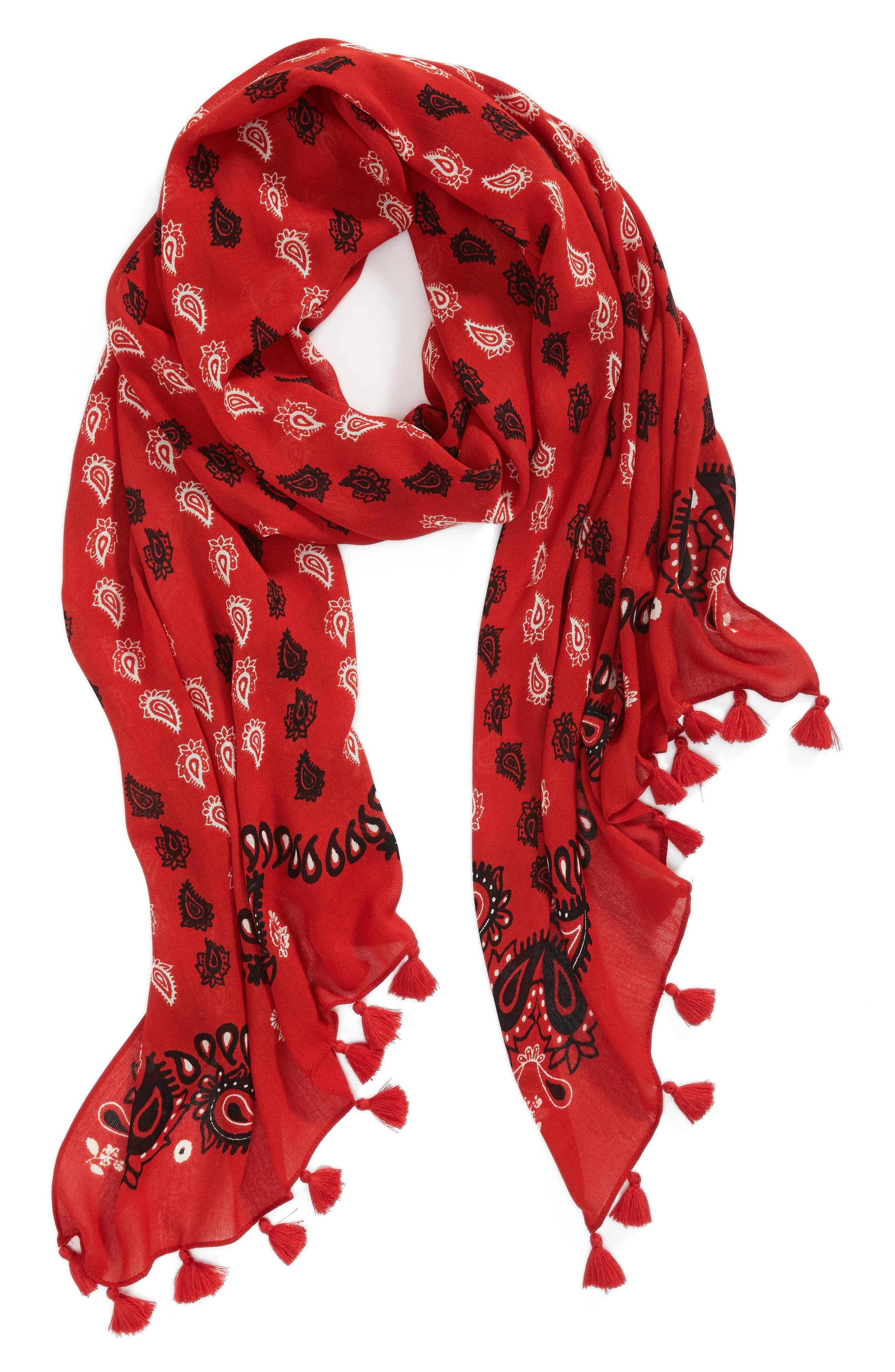 Vertical Paisley Oblong Scarf,                             Alternate thumbnail 3, color,                             Poppy Red