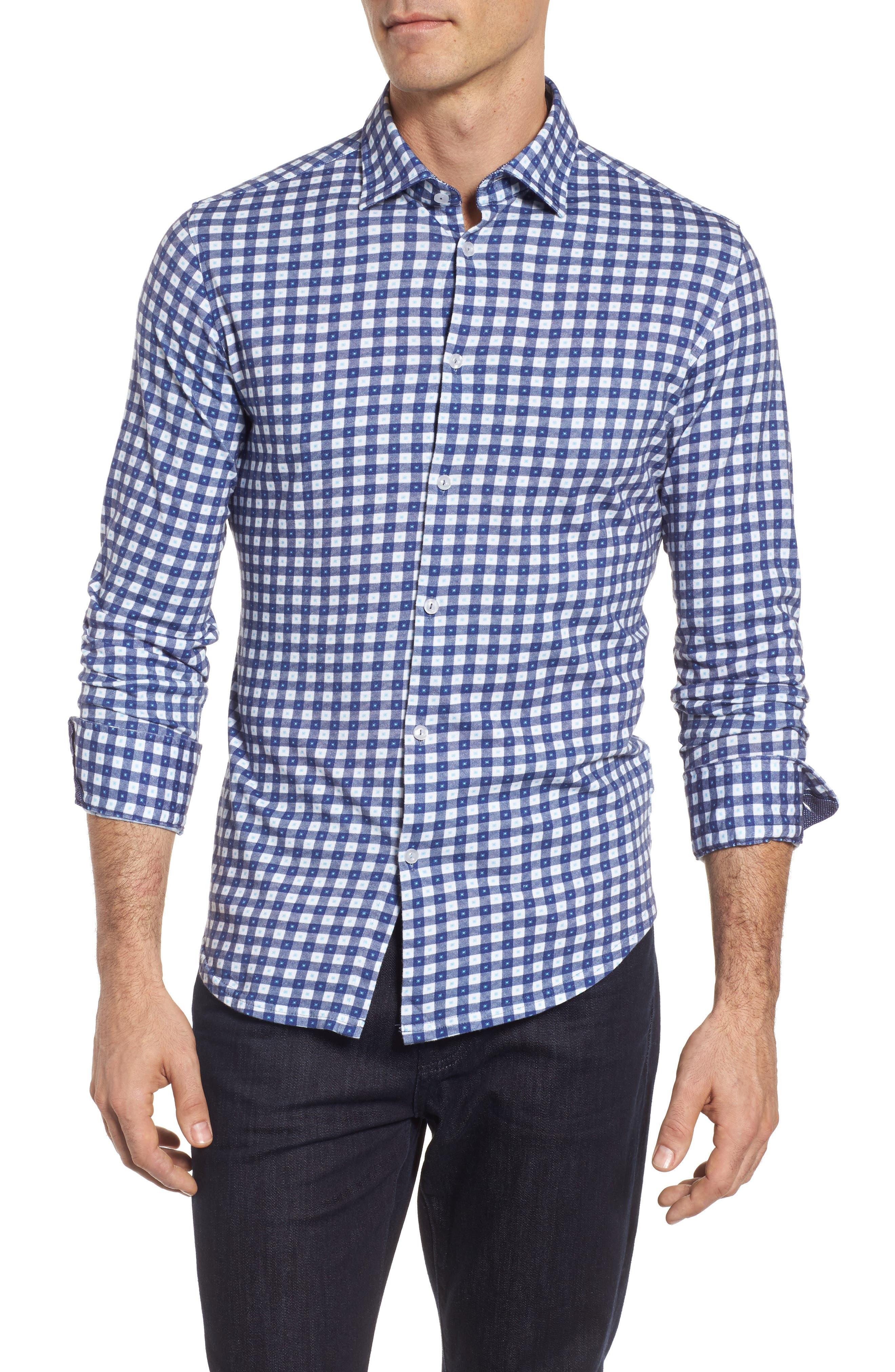 Gingham Print,                         Main,                         color, Navy