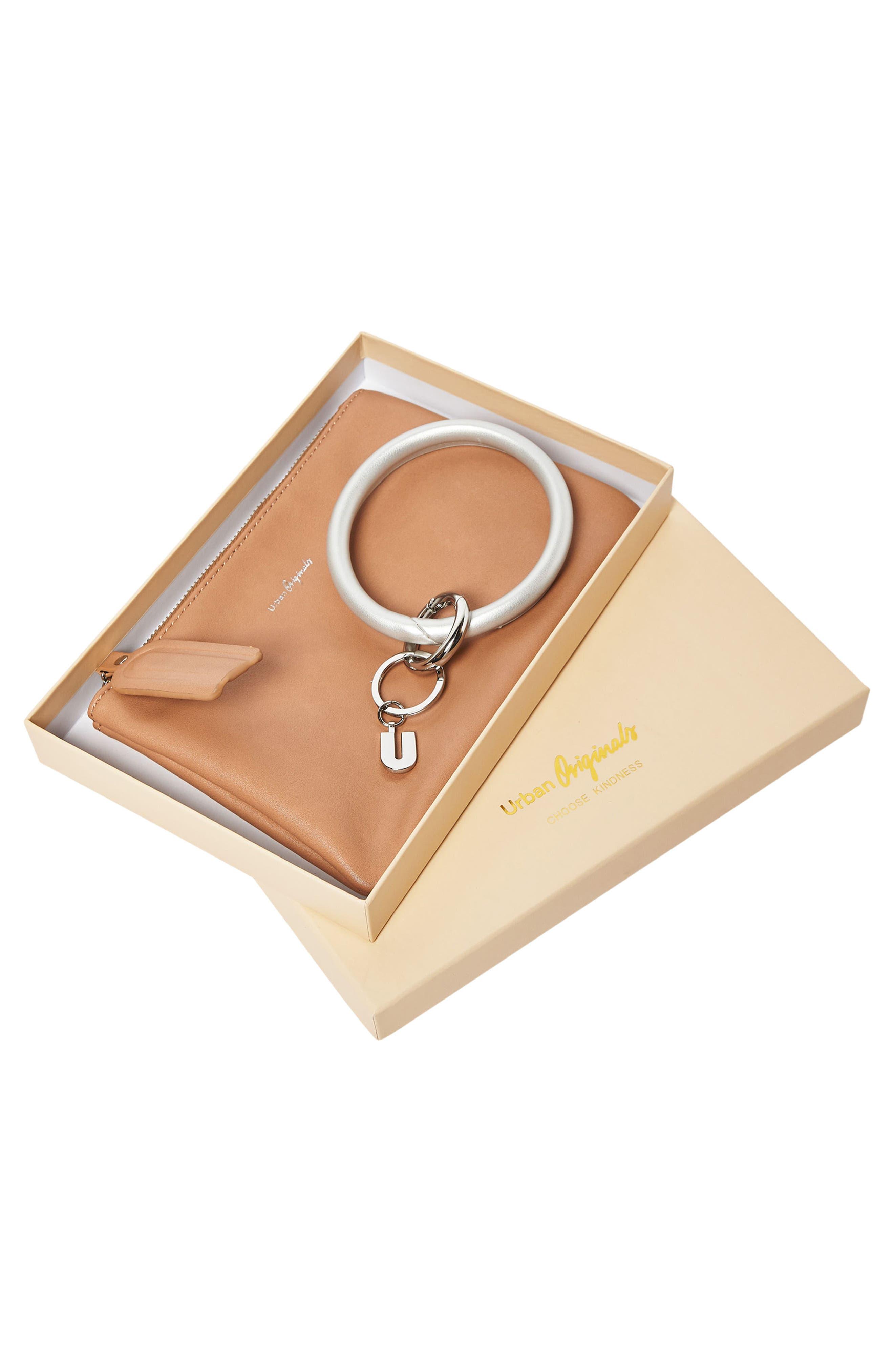 Alternate Image 2  - Urban Originals Mariposa Key Ring & Vegan Leather Card Pouch