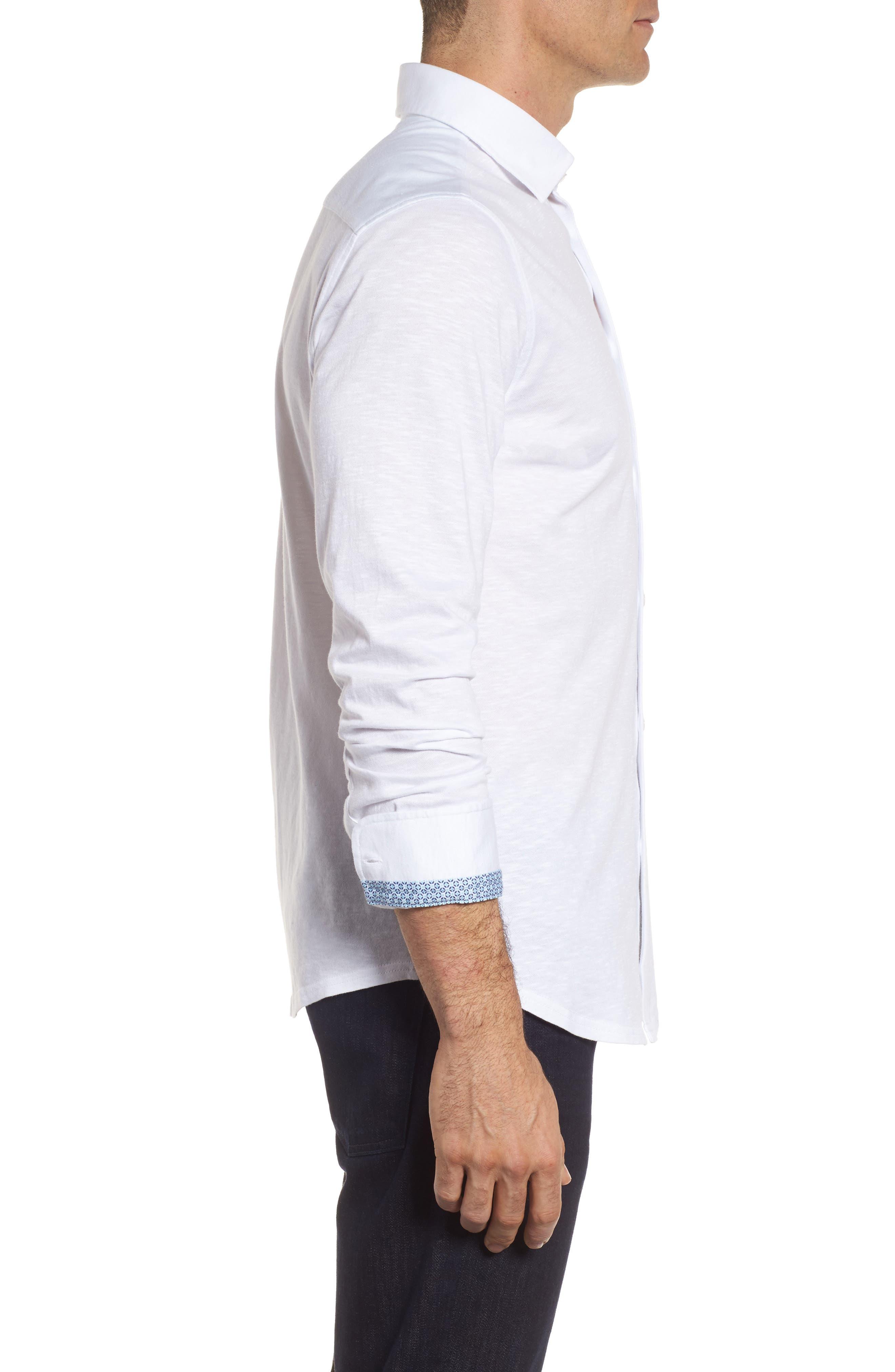 Slub Knit Sport Shirt,                             Alternate thumbnail 3, color,                             White