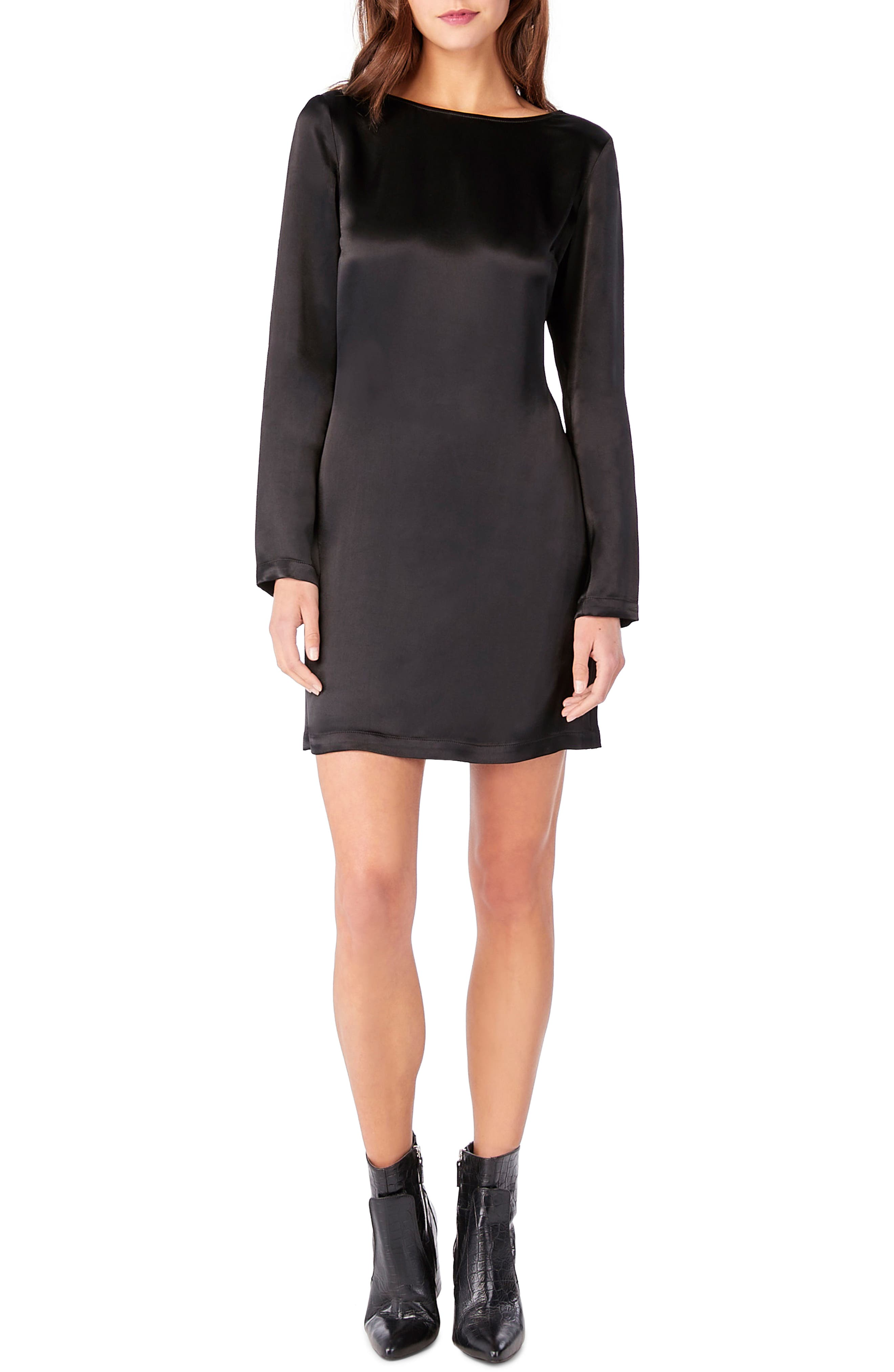 Lace Inset Surplice Back Shift Dress,                             Main thumbnail 1, color,                             Black