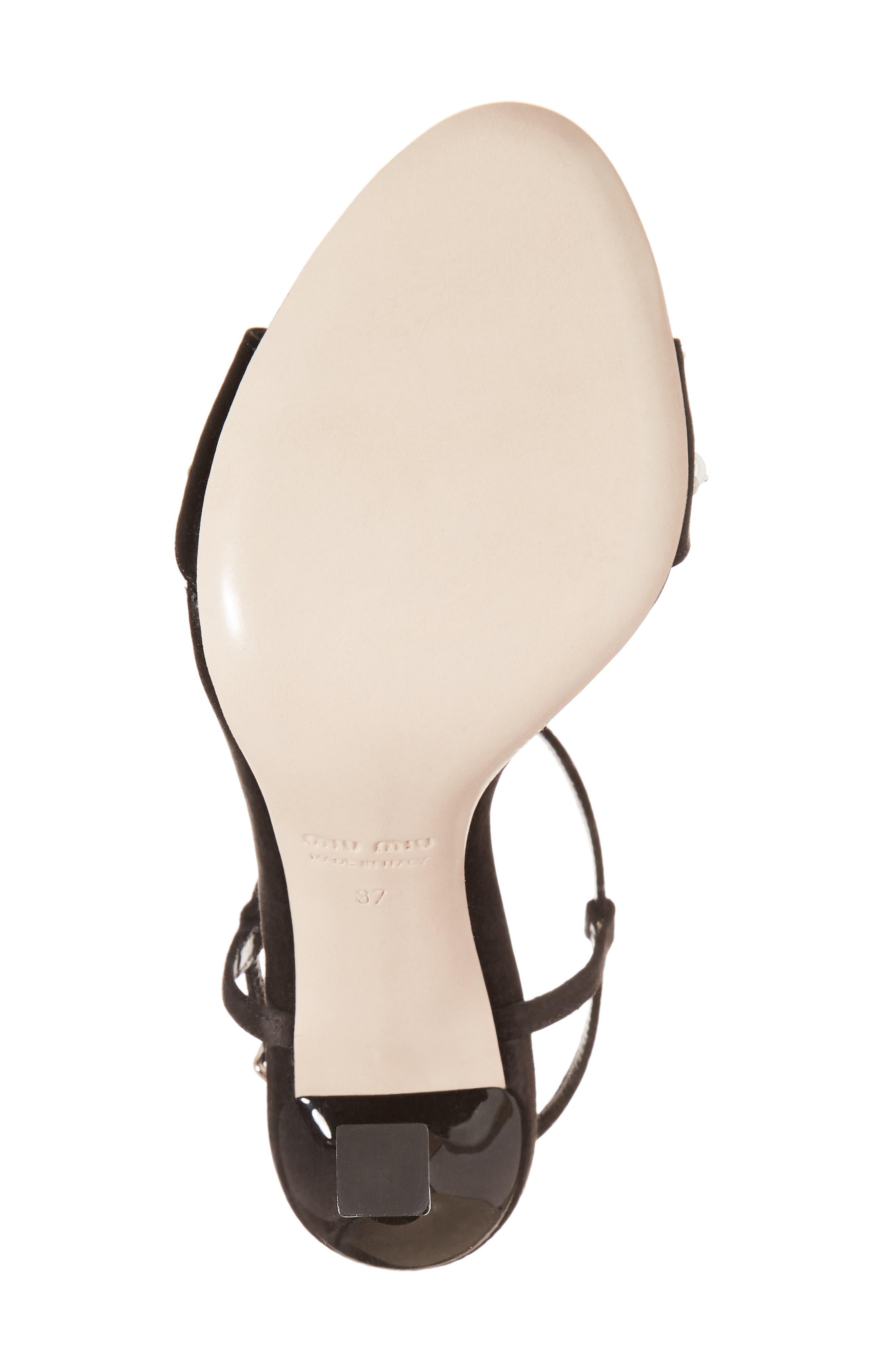 Embellished T-Strap Sandal,                             Alternate thumbnail 6, color,                             Black