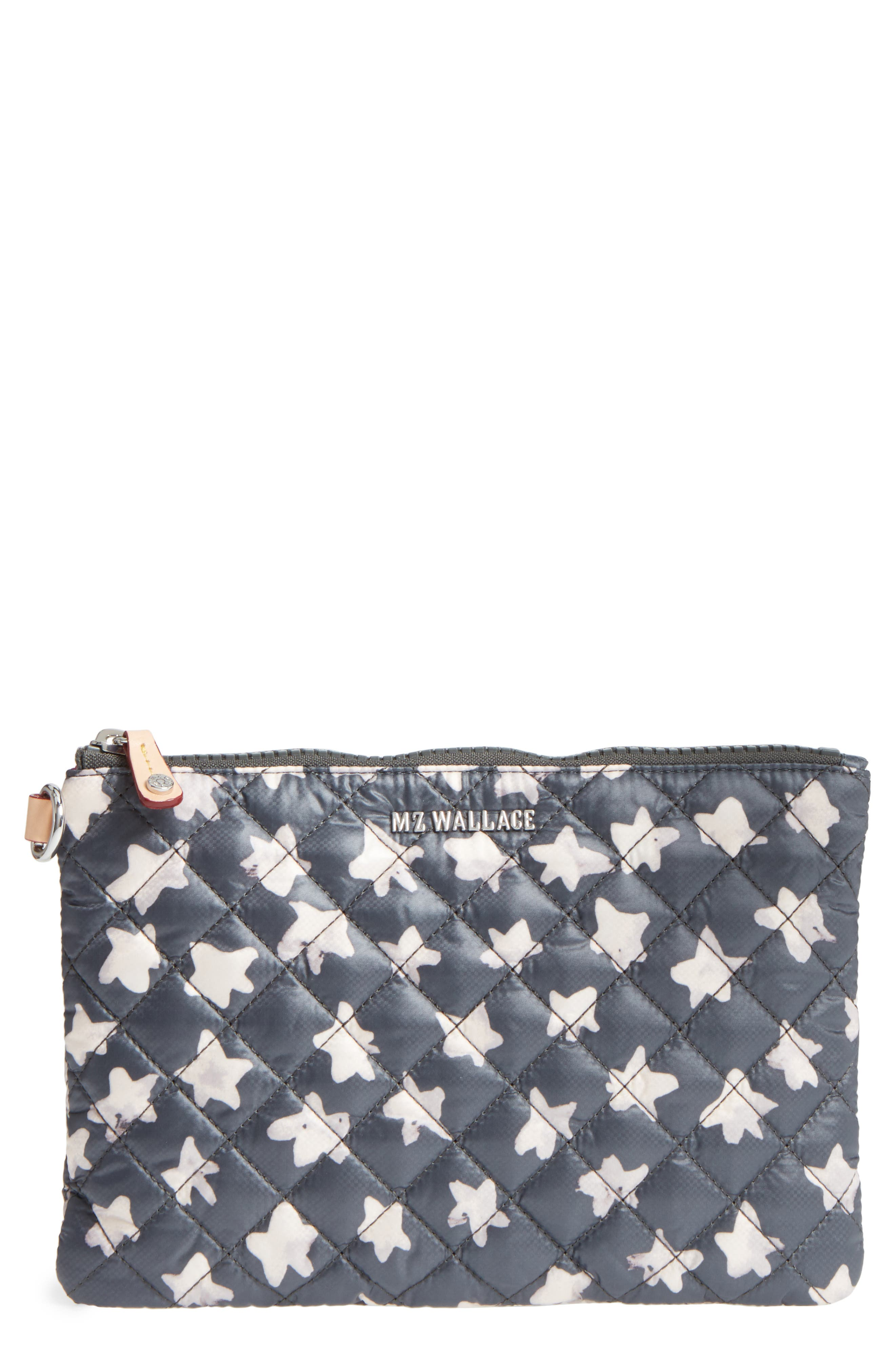 Small Metro Quilted Oxford Nylon Zip Pouch,                             Main thumbnail 1, color,                             Star Oxford