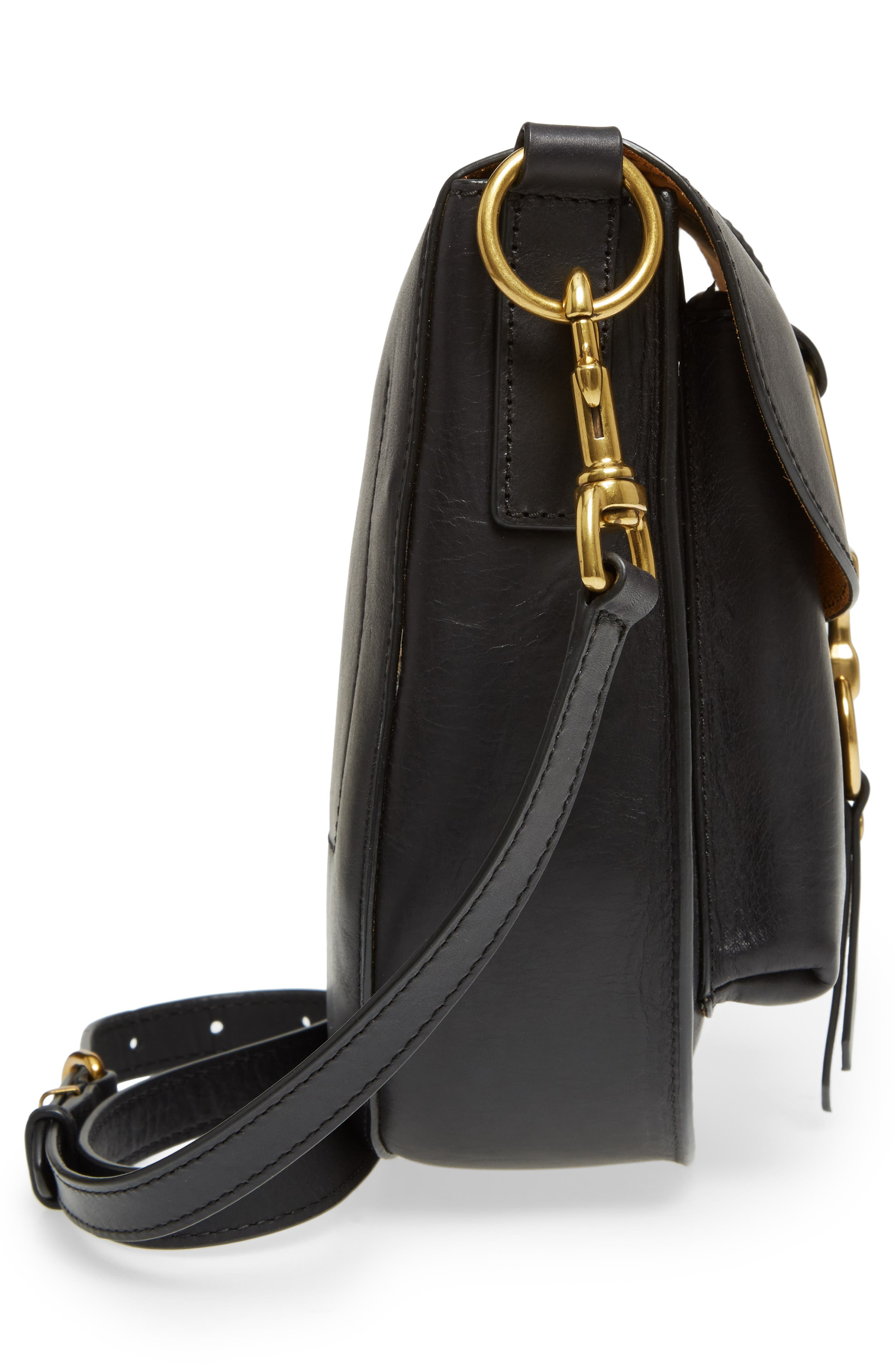 Ilana Leather Saddle Bag,                             Alternate thumbnail 5, color,                             Black