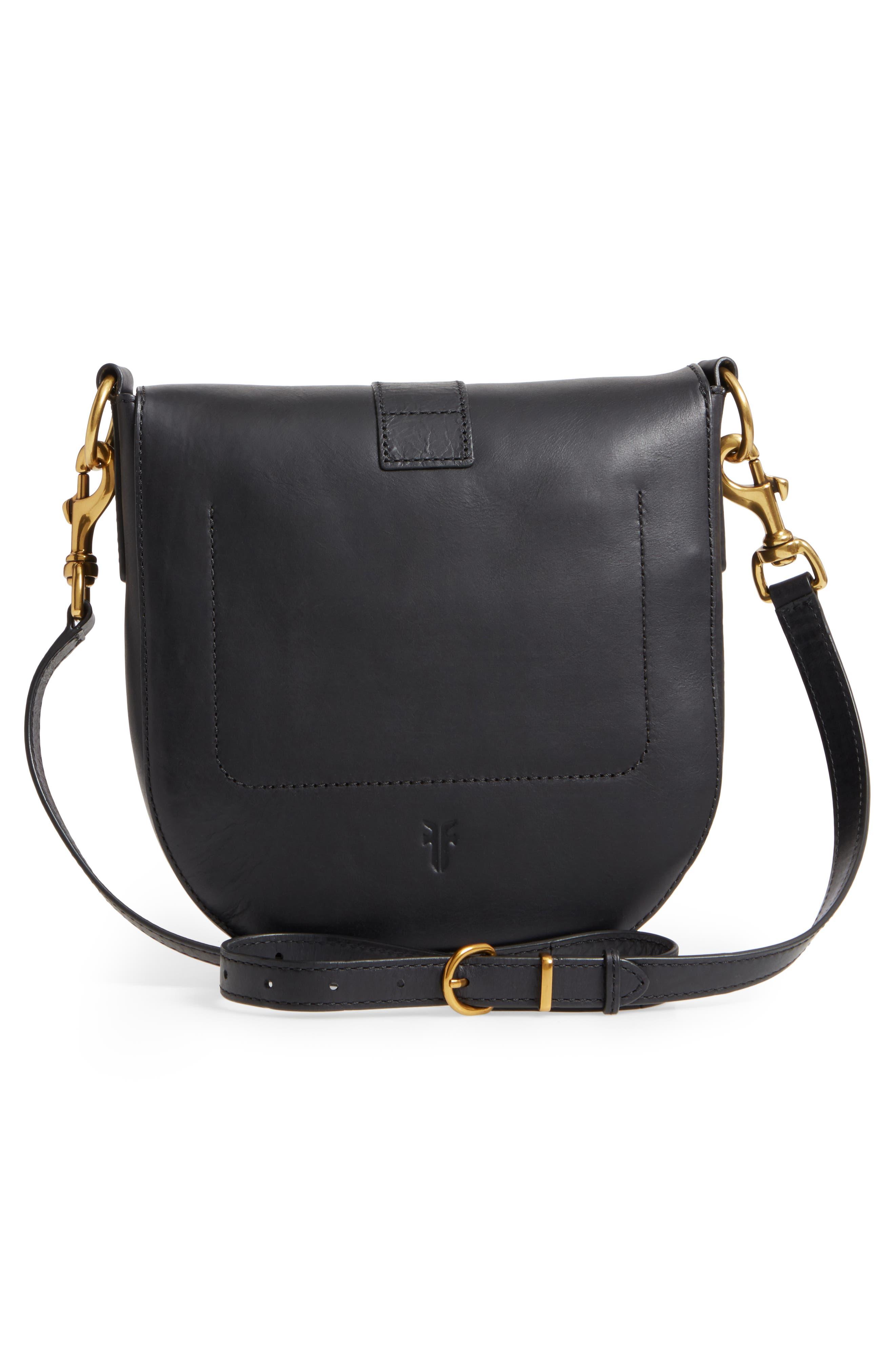 Ilana Leather Saddle Bag,                             Alternate thumbnail 3, color,                             Black
