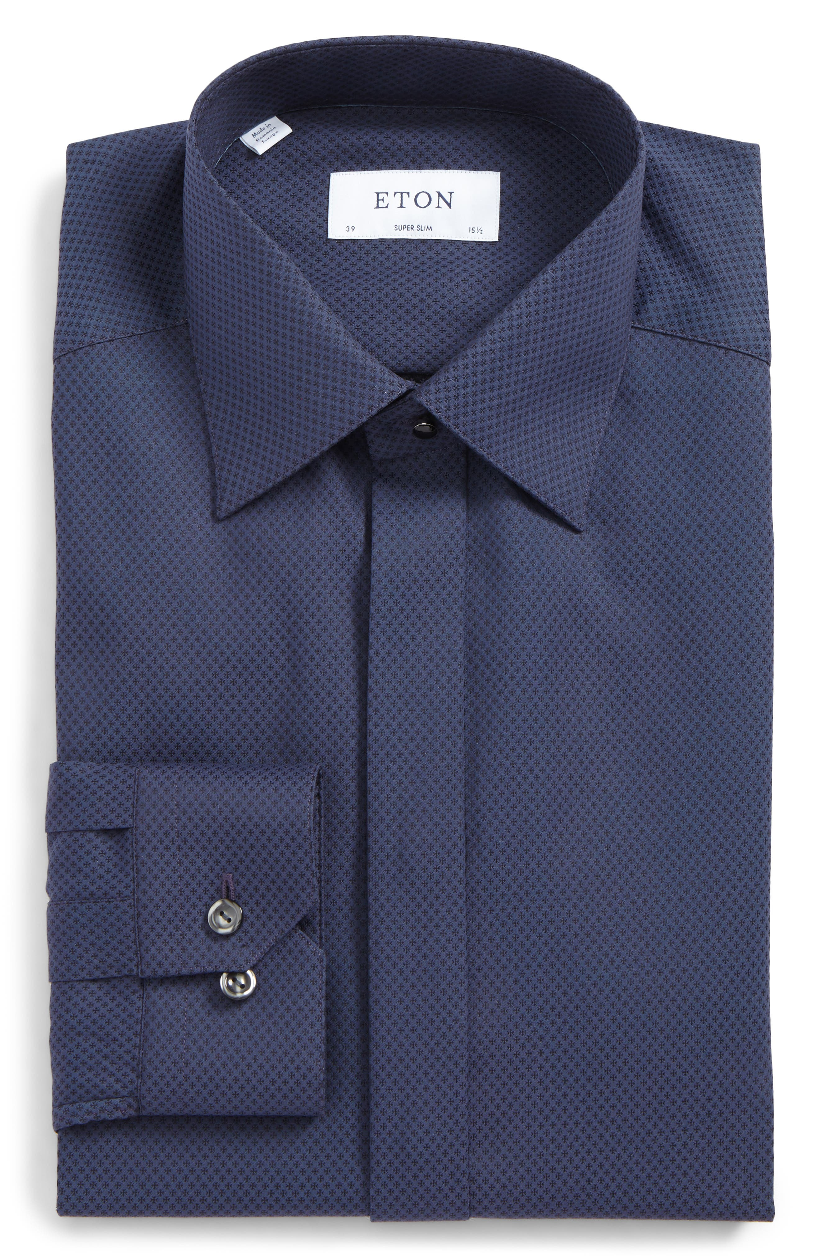 Eton Super Slim Fit Grid Dress Shirt