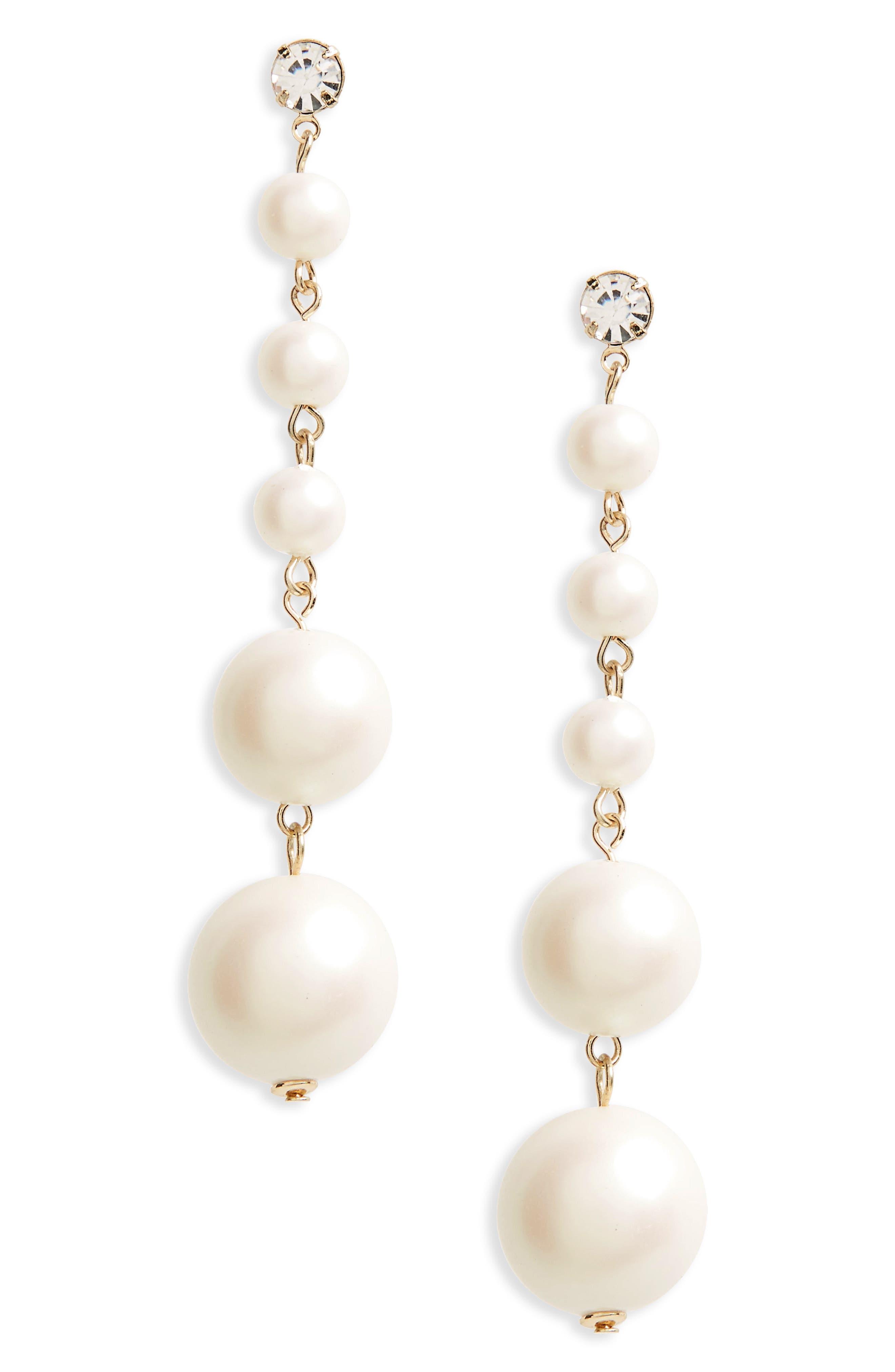 Graduated Imitation Pearl Drop Earrings,                         Main,                         color, Cream
