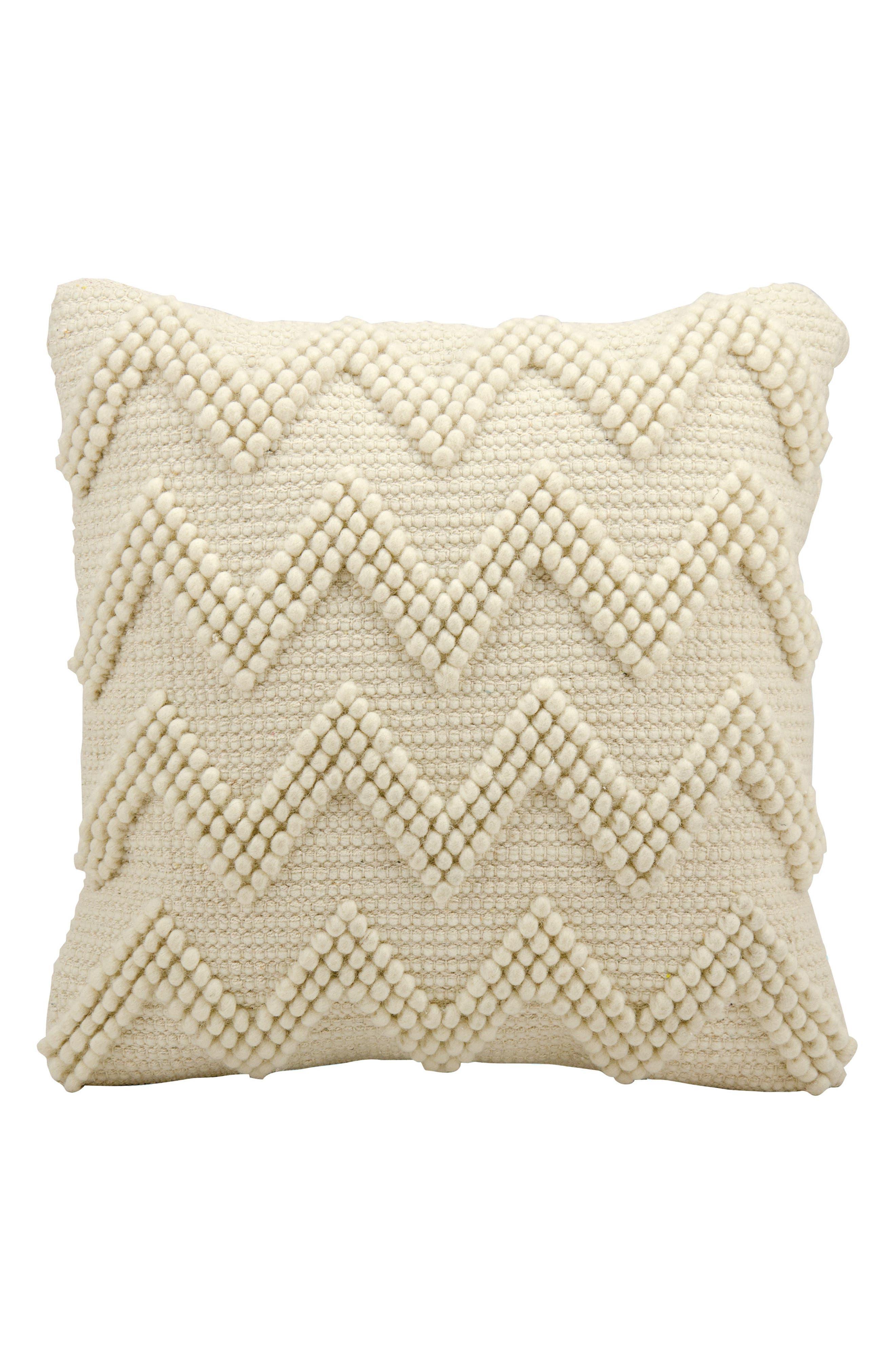 Chevron Pom Accent Pillow,                             Main thumbnail 1, color,                             Ivory
